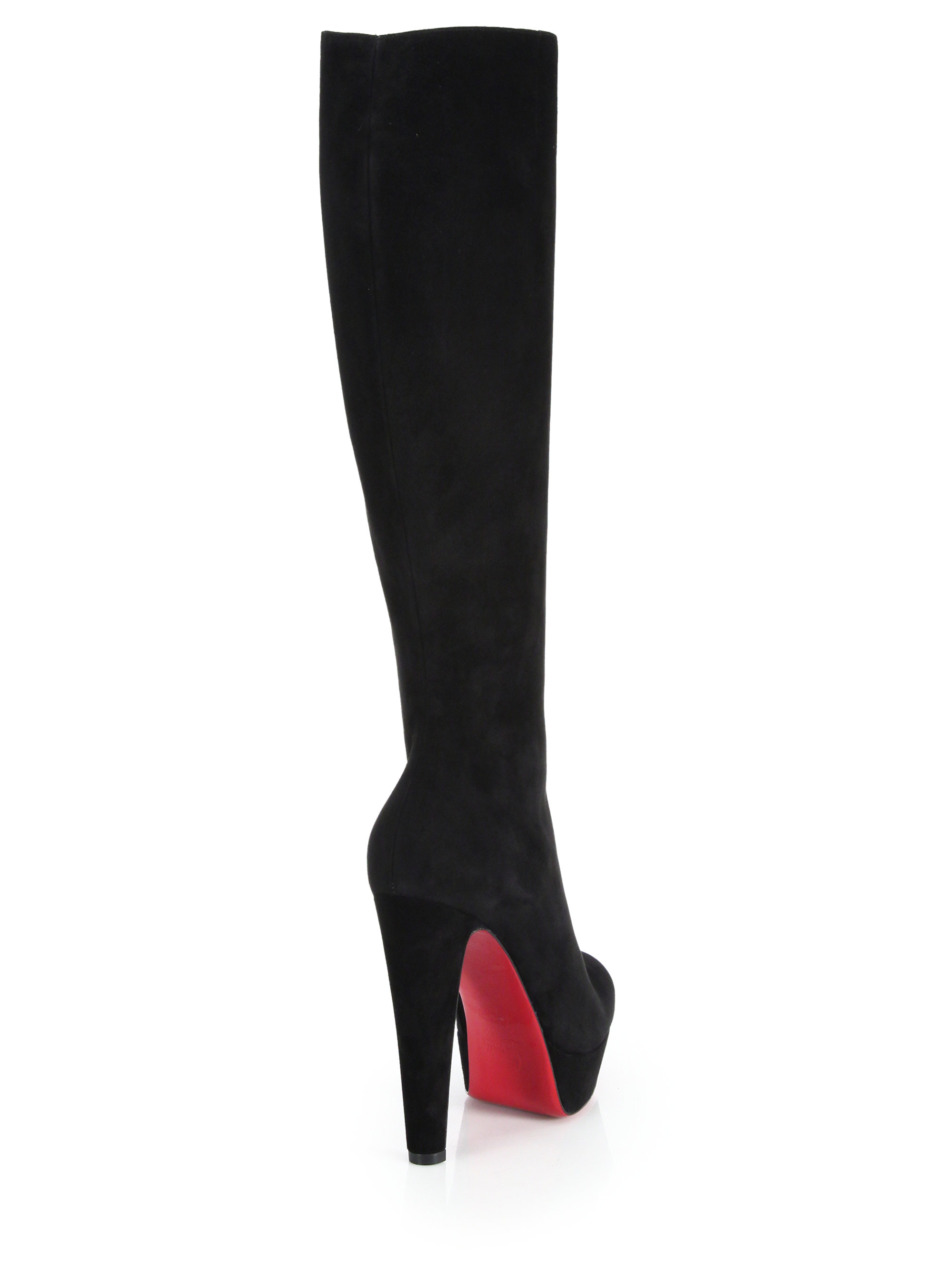Christian louboutin Lady Suede Knee-high Platform Boots in Black ...