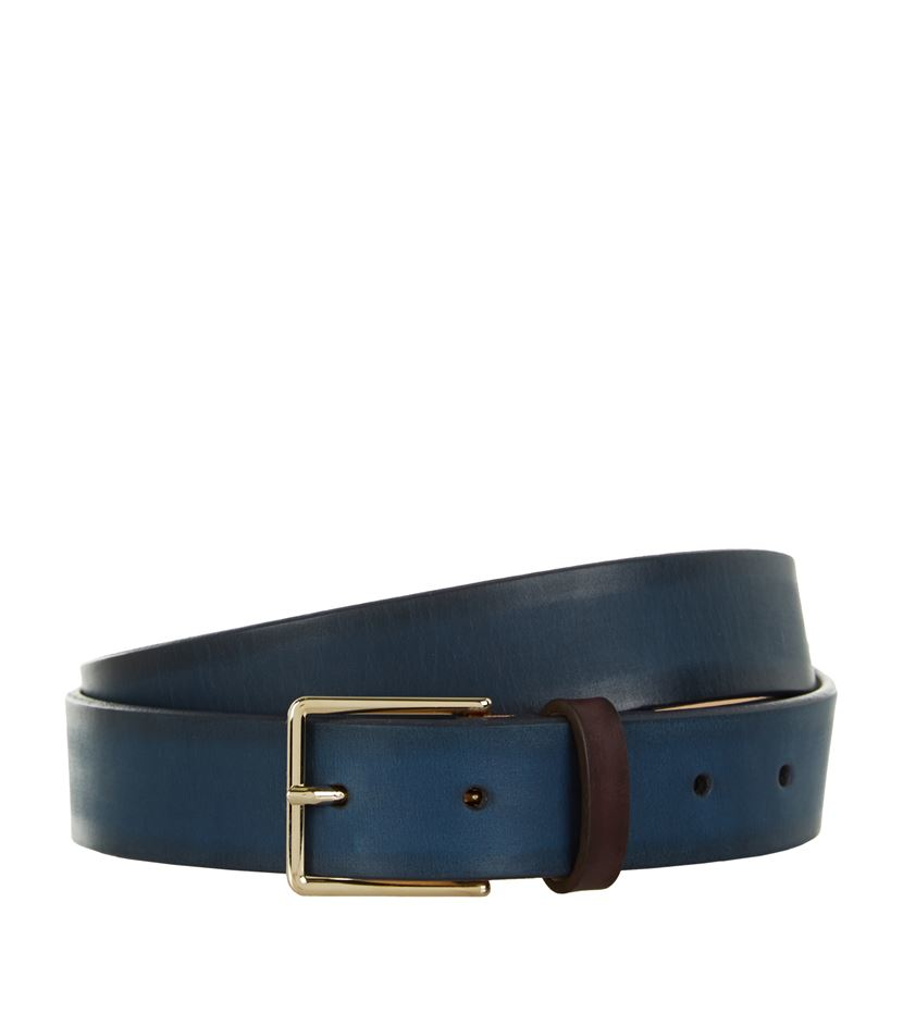 paul smith burnished leather belt in blue lyst