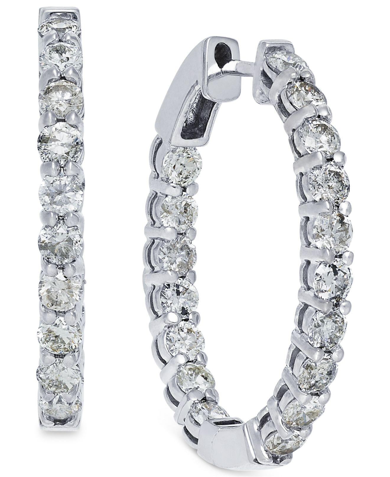 c92699765 Macy's Us Diamond Hoop Earrings In 10K White Gold (4 Ct. T.W.) in