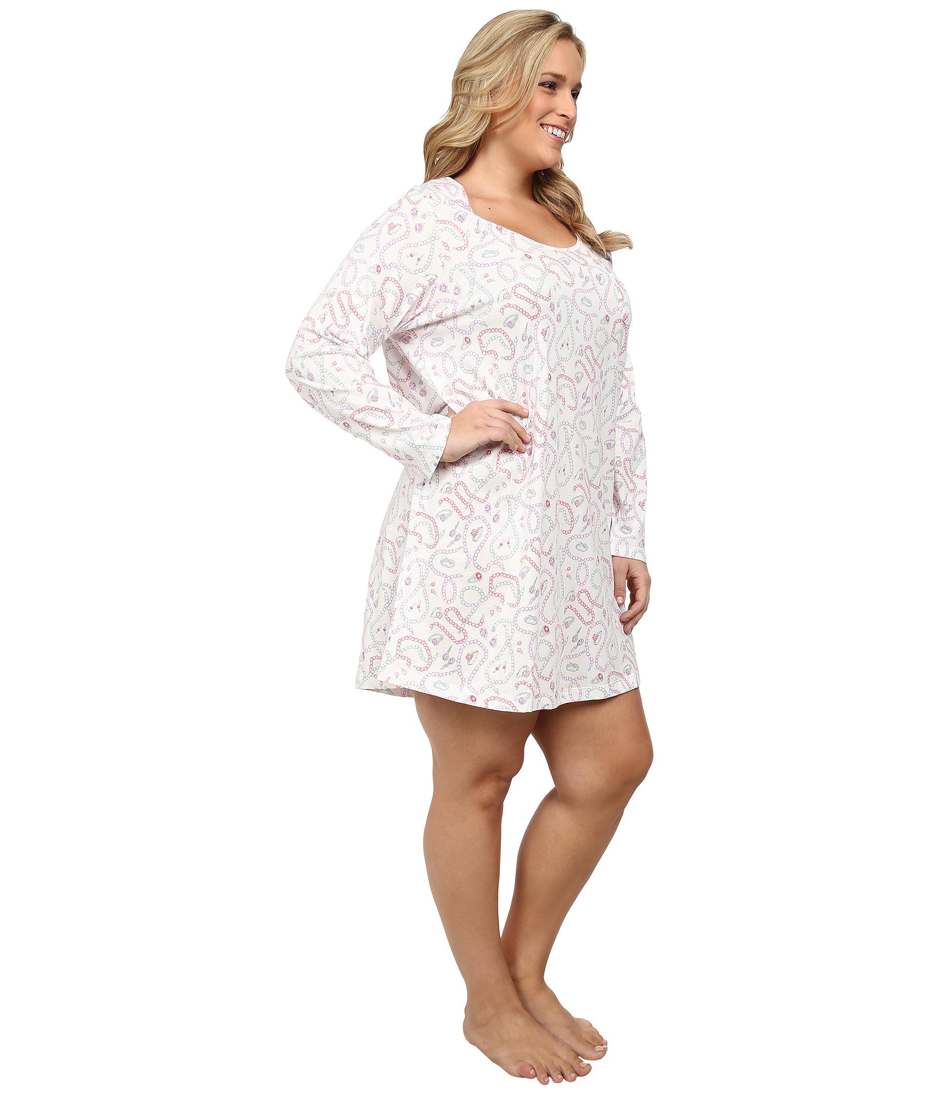 Lyst - Carole Hochman Plus Size Printed Long Sleeve Sleepshirt in White