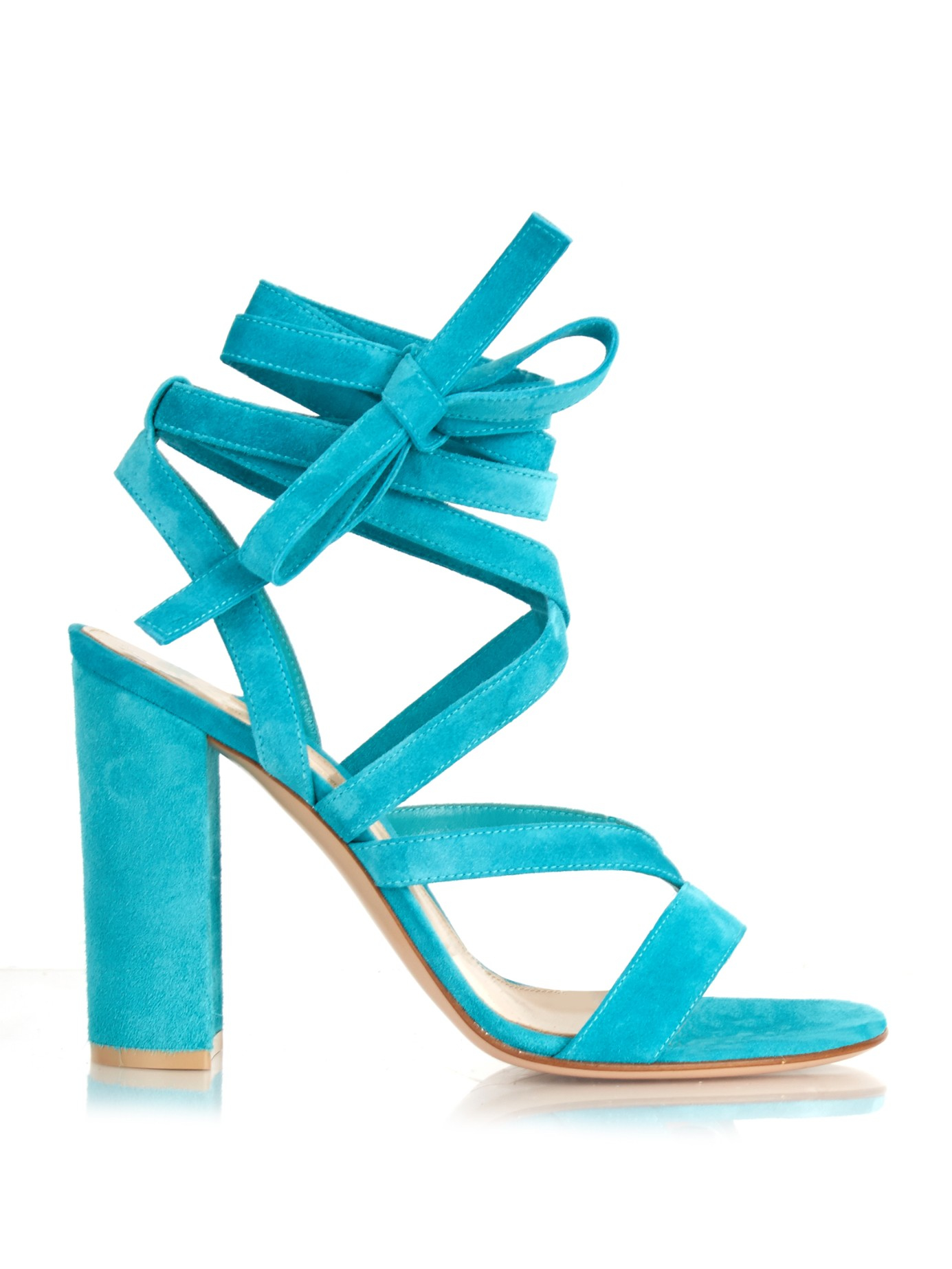 ce7f03ef9f9f Lyst - Gianvito Rossi Janis Wraparound Suede Sandals in Blue