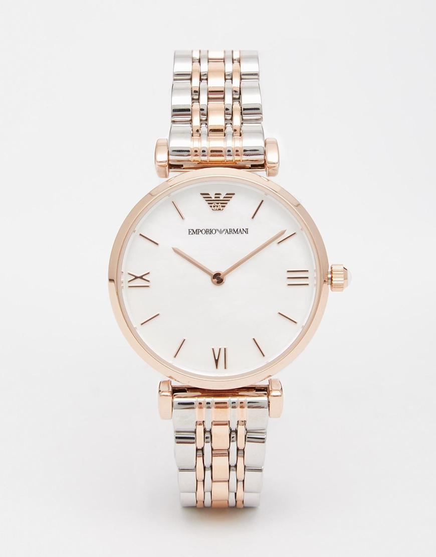2f9c9efc Emporio Armani Metallic Rose Gold Gianni T Bar Watch