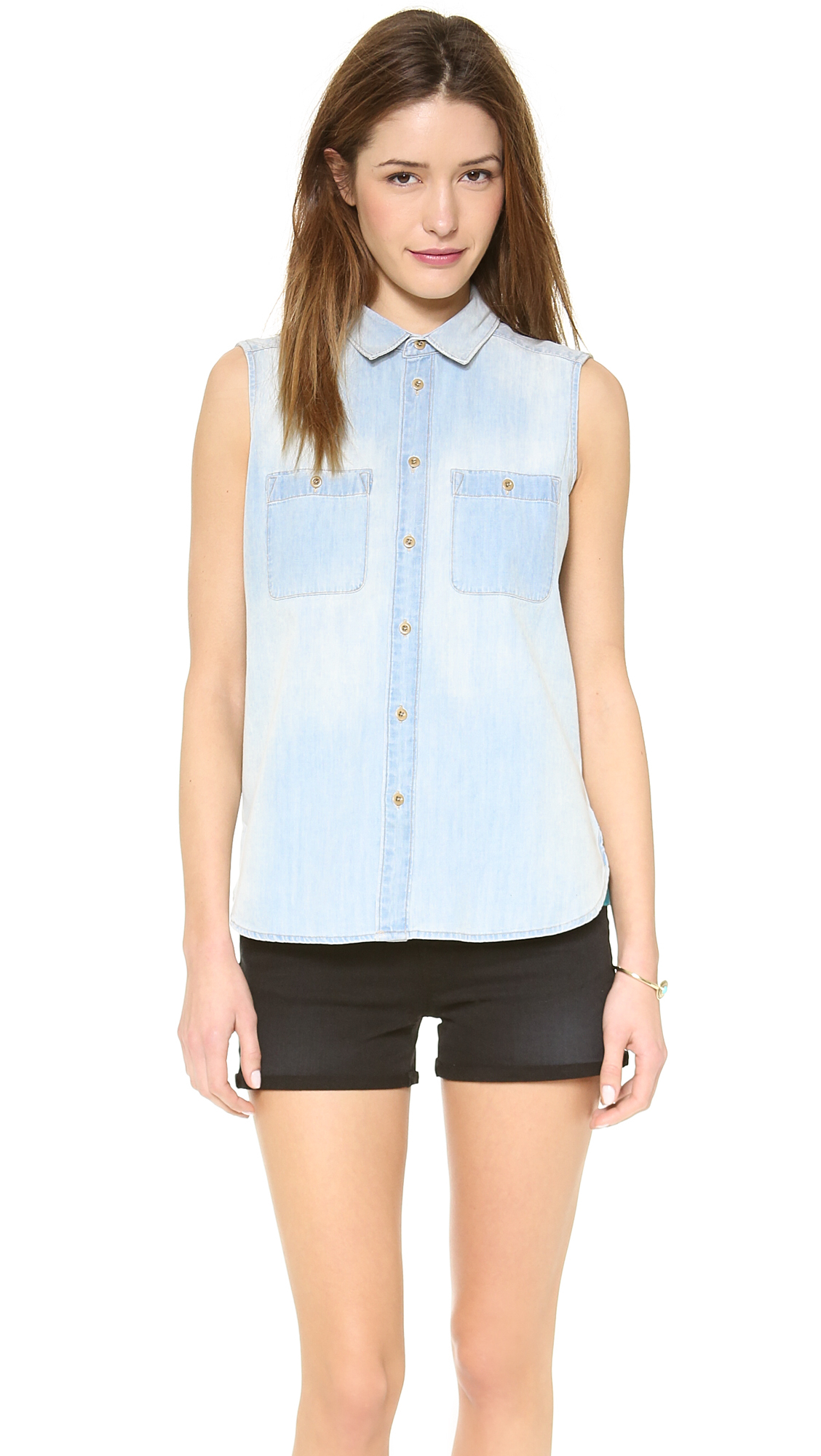 Madewell sleeveless chambray top sunflare in blue lyst for Chambray top