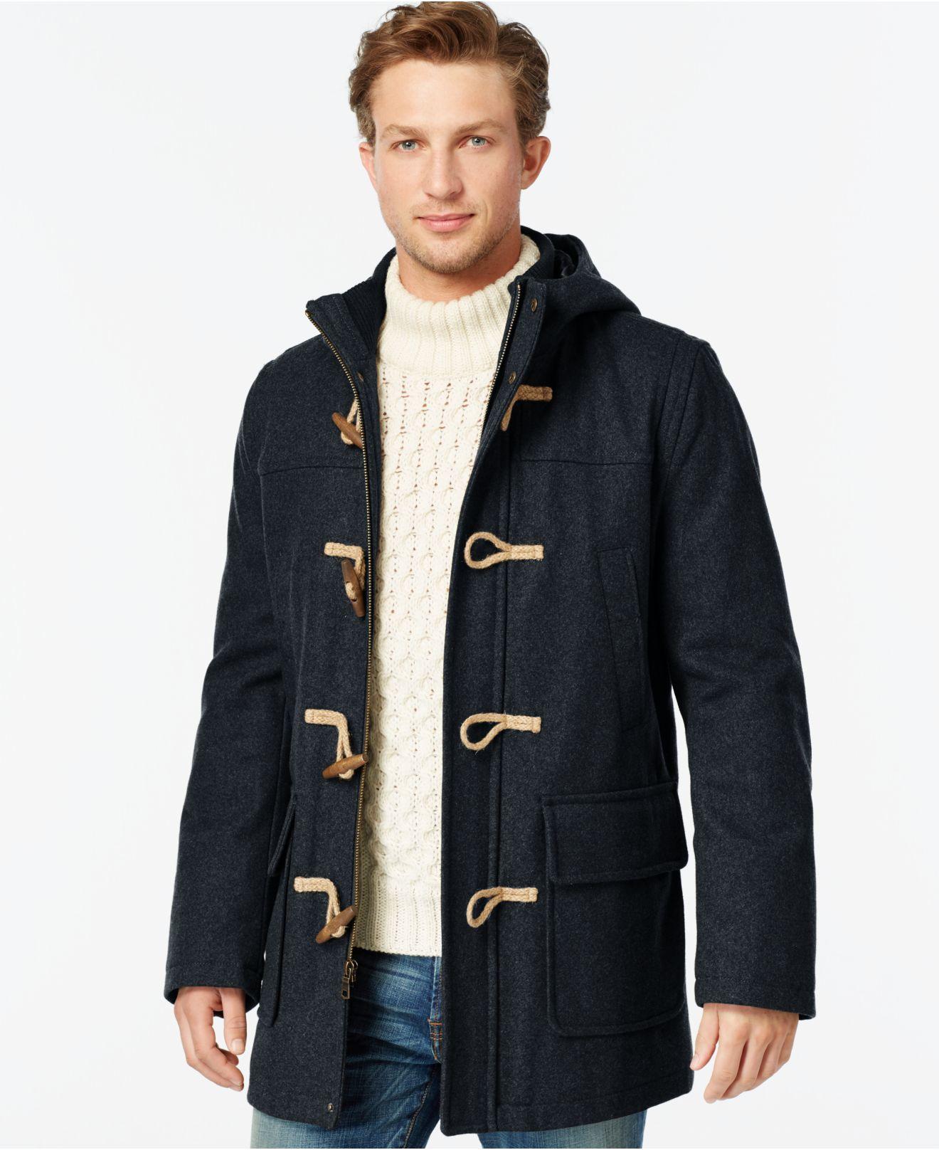 tommy hilfiger wool blend melton toggle coat in blue for men lyst. Black Bedroom Furniture Sets. Home Design Ideas