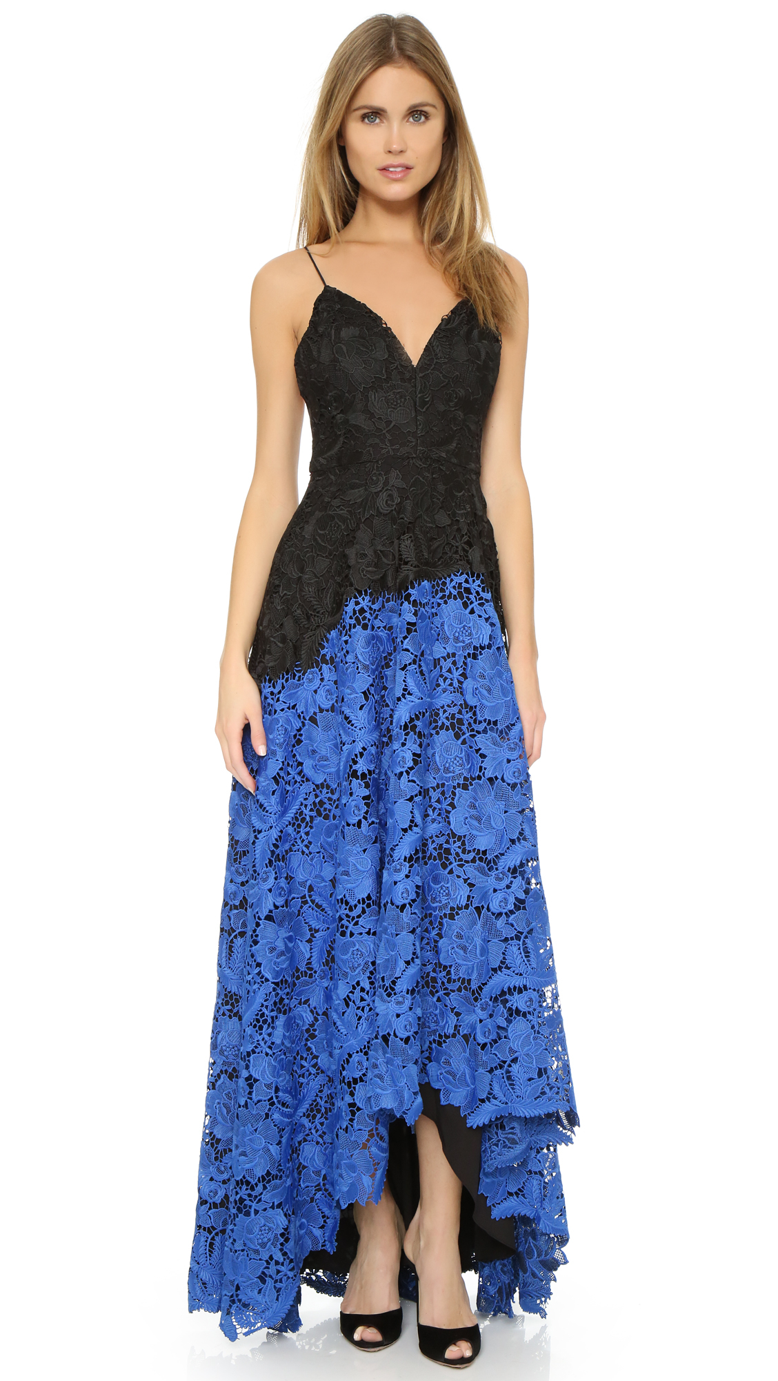 Badgley Mischka Two Tone Lace Gown - Black/blue in Blue - Lyst