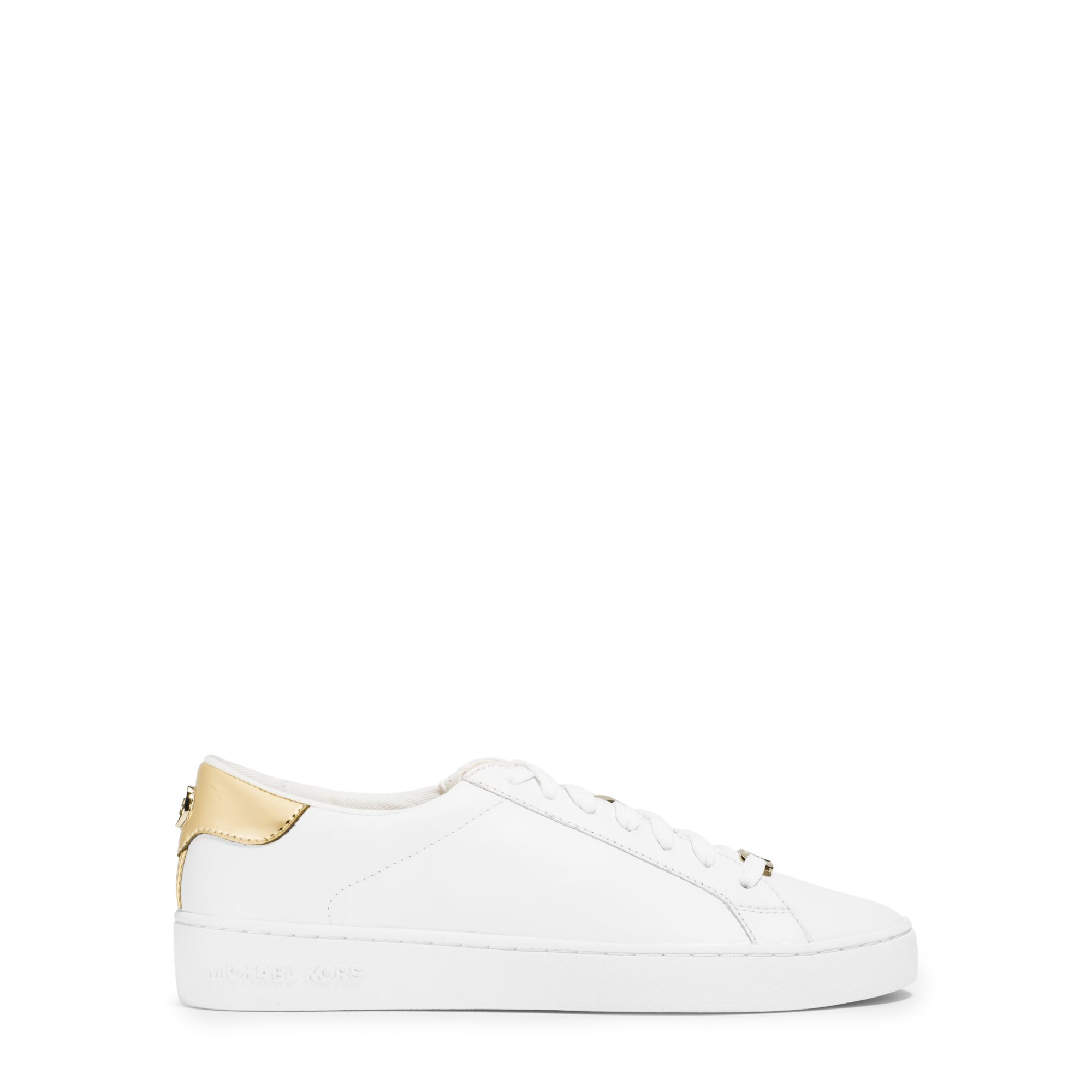 michael kors irving leather sneaker in white lyst. Black Bedroom Furniture Sets. Home Design Ideas