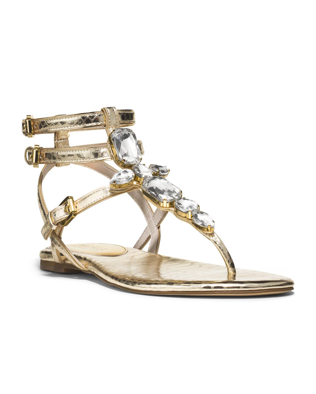 479ecac30 Lyst - Michael Kors Michael Jayden Jeweled Sandal in Metallic