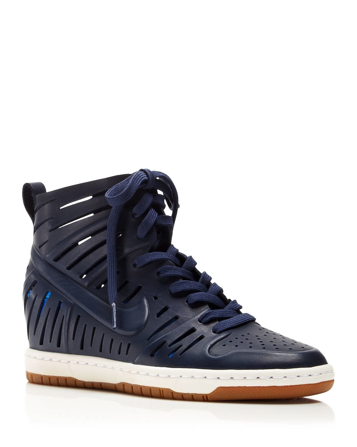 nike lace up wedge sneakers women 39 s dunk sky hi 2 0 joli in blue lyst. Black Bedroom Furniture Sets. Home Design Ideas