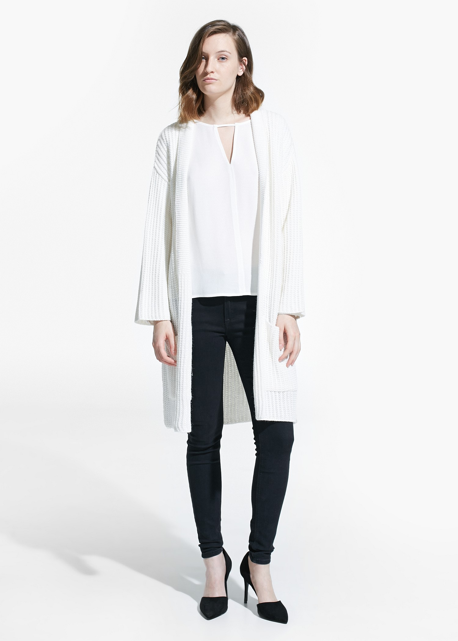 Mango Long Cardigan in White | Lyst