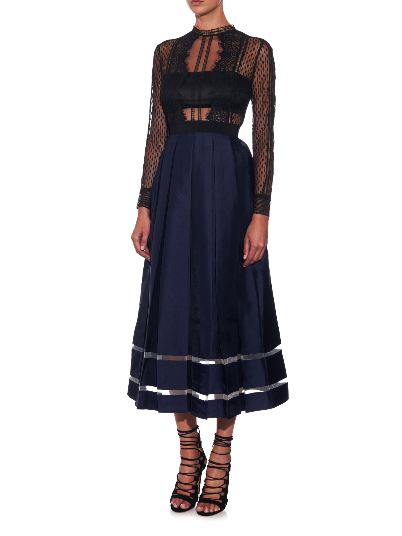 Sheer Lace And Box Pleated Midi Dress