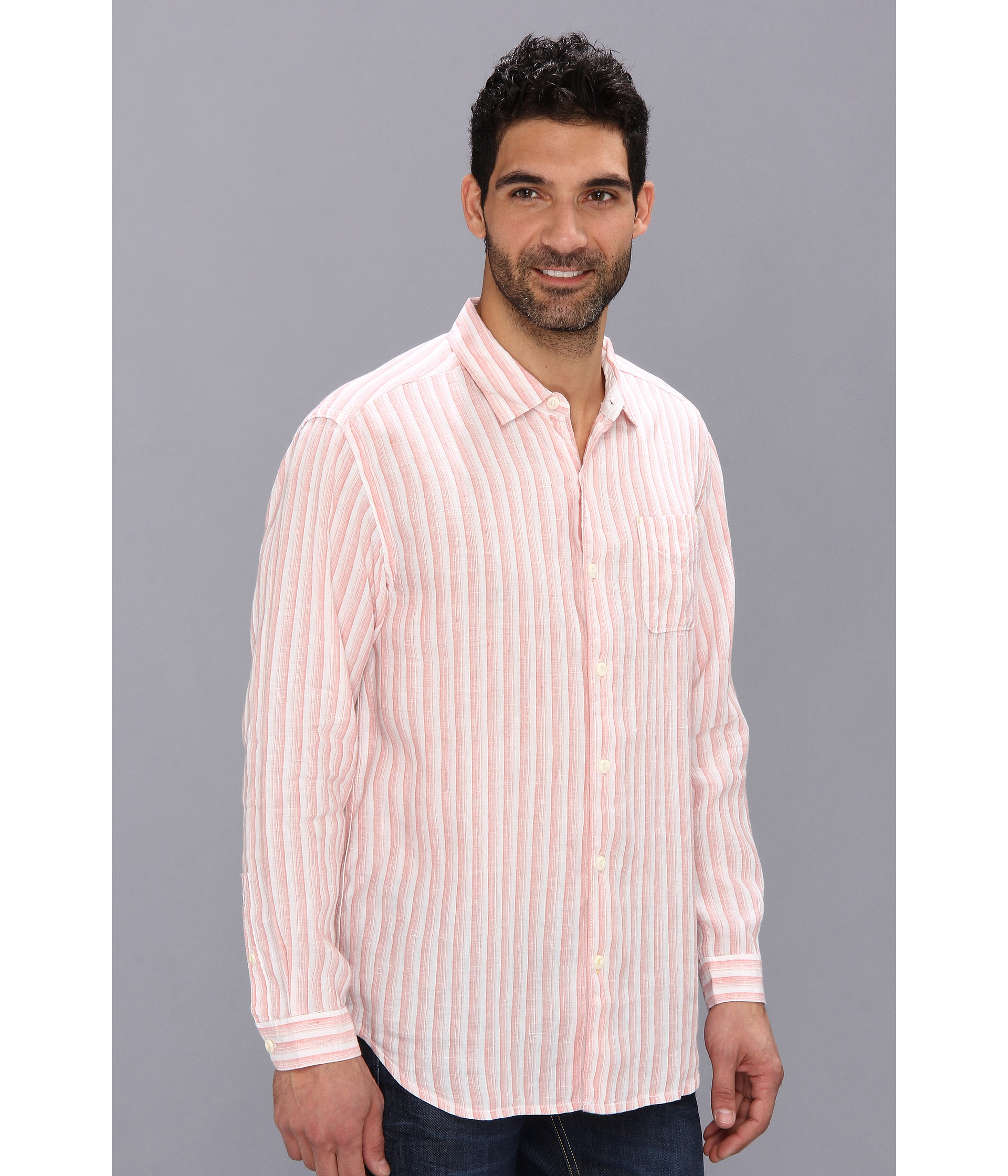 Tommy bahama beach club breezer ls shirt in pink for men for Tommy bahama christmas shirt 2014