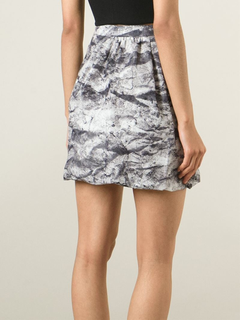 boutique moschino high waisted print skirt in gray lyst