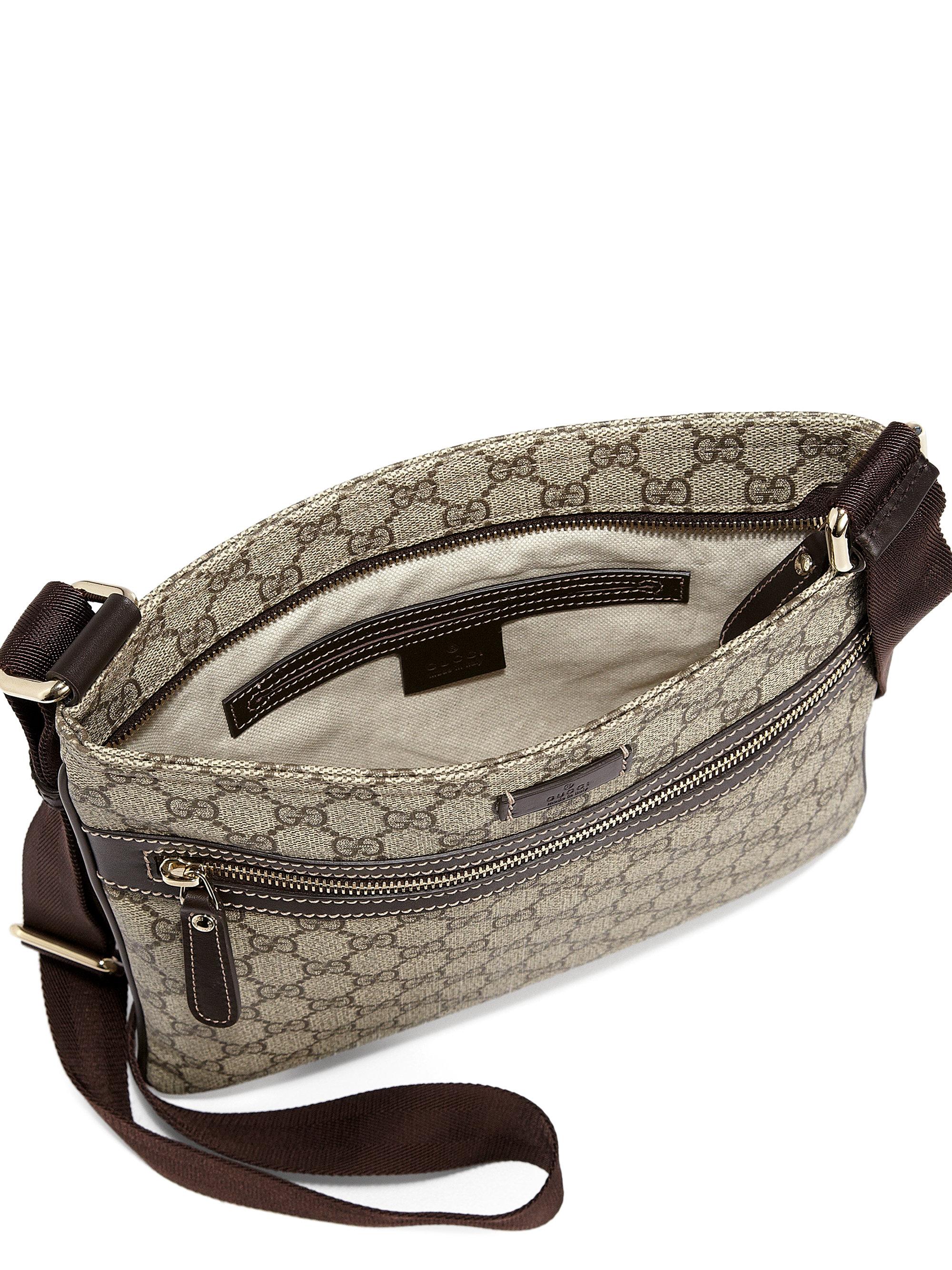 Gucci Joy GG Supreme Flat Messenger Bag in Brown | Lyst