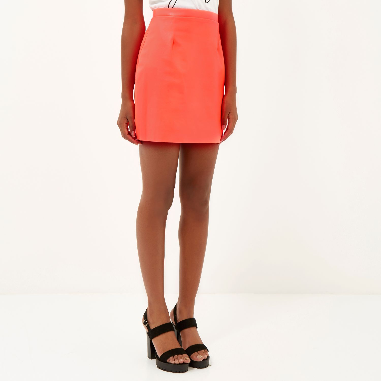 river island bright coral leather look a line skirt in