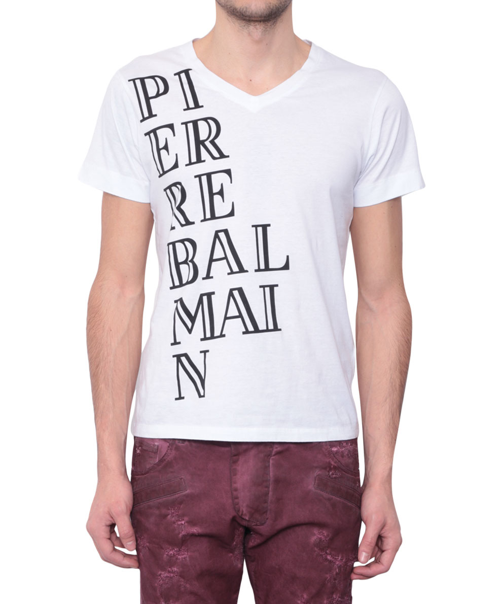 Lyst Balmain Cotton T Shirt With Logo In White For Men
