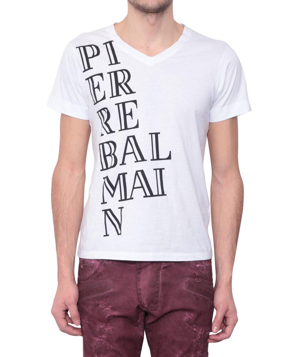 Lyst balmain cotton t shirt with logo in white for men for Balmain white logo t shirt