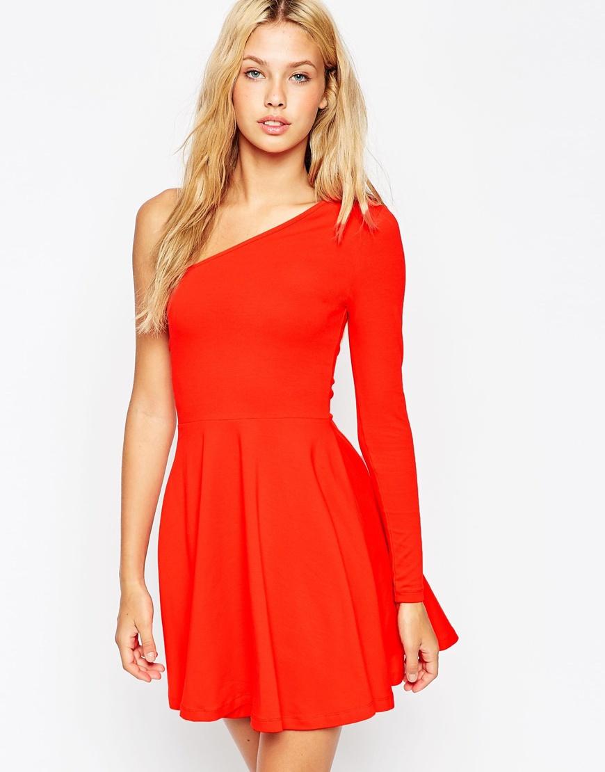 lyst asos long sleeve one shoulder skater dress in red