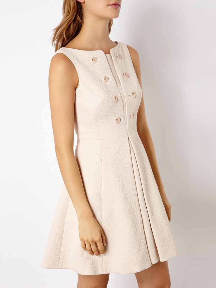 Lyst Karen Millen Clean Button Detail Dress In Natural