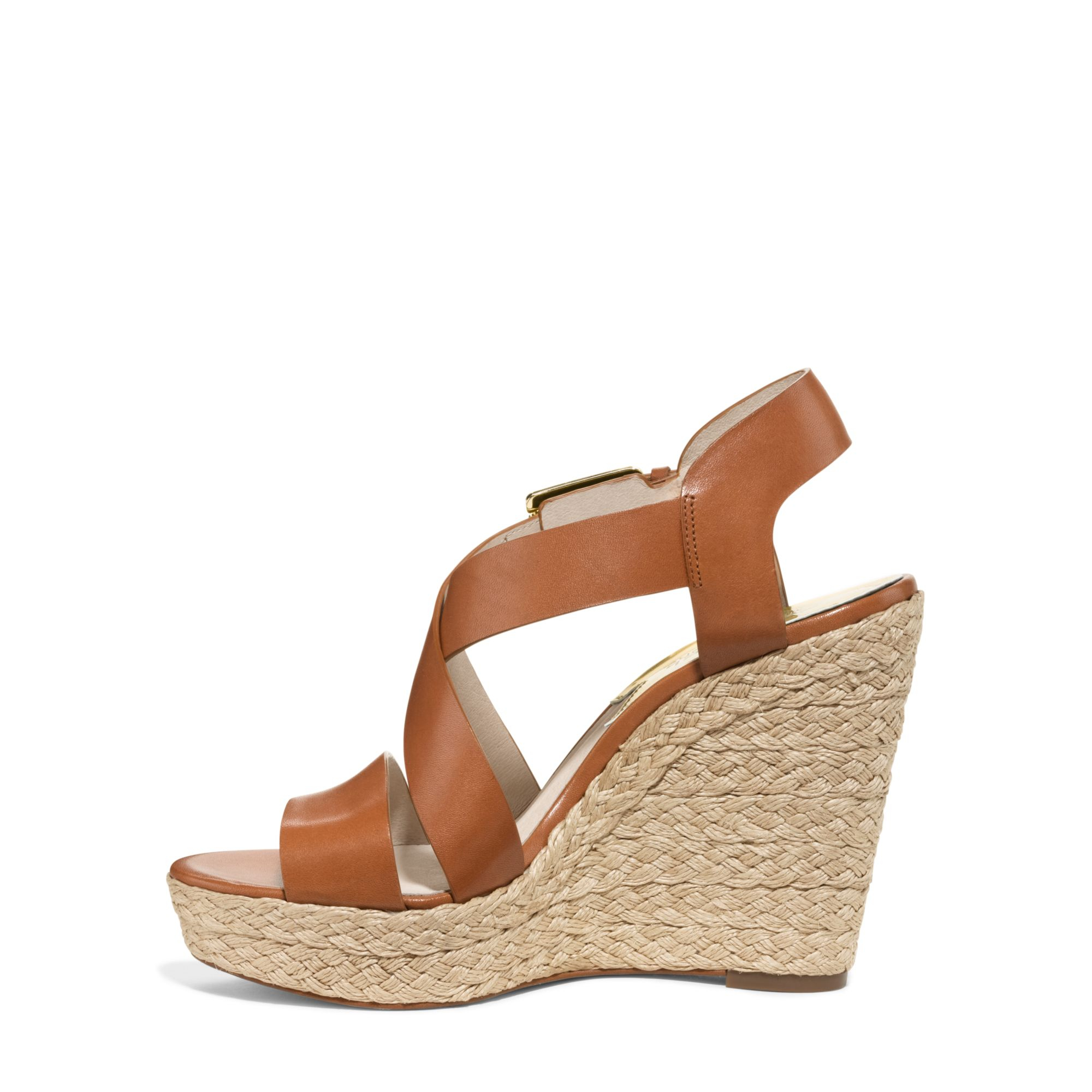 62e7d4182f8 Michael Kors Brown Giovanna Leather Espadrille Wedge Sandal