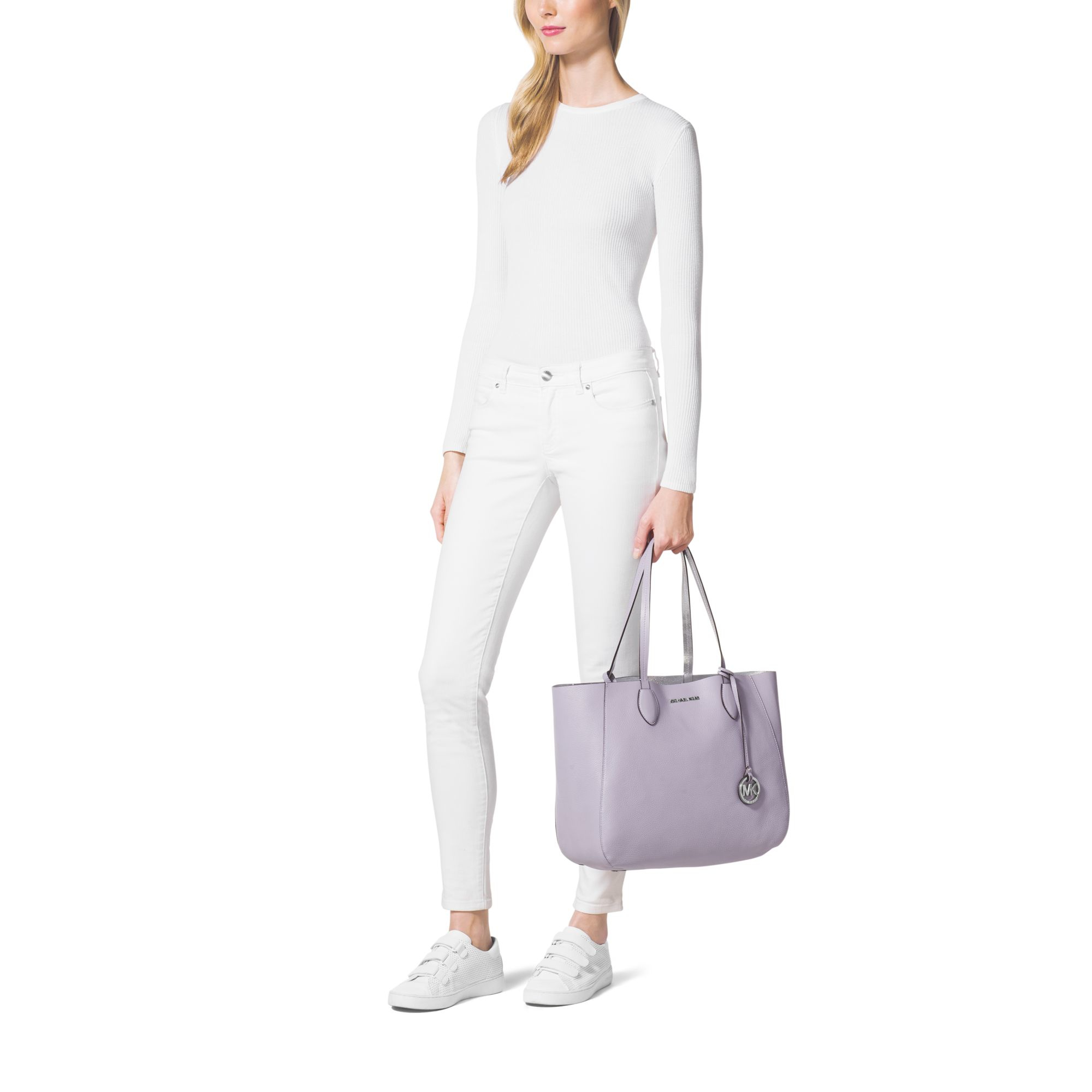 bb4ff465563812 Michael Kors Mae Soft Leather Carryall Tote in Purple - Lyst