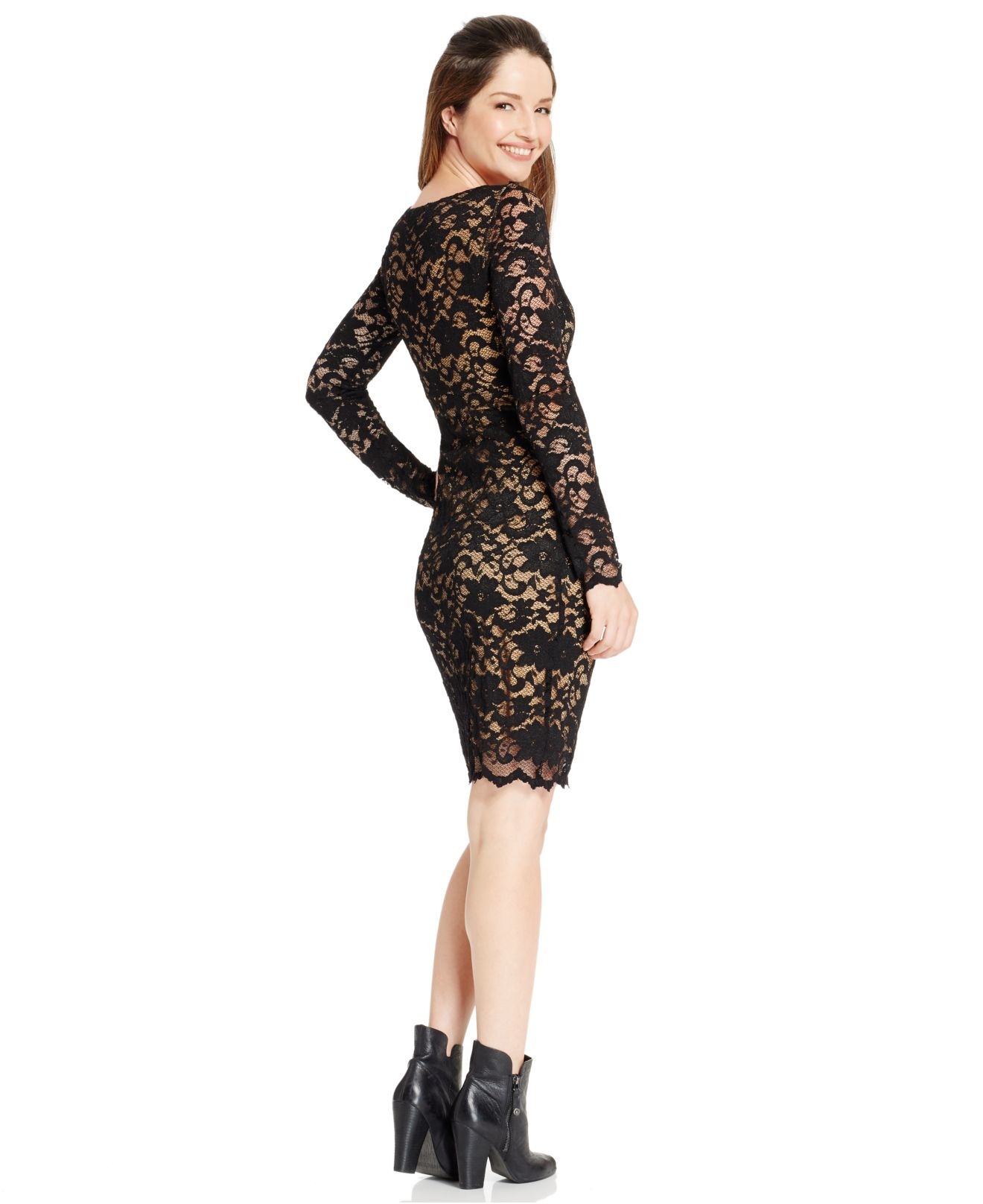 74f94ff2b23b1 Lyst - Karen Kane V-neck Lace Dress in Black