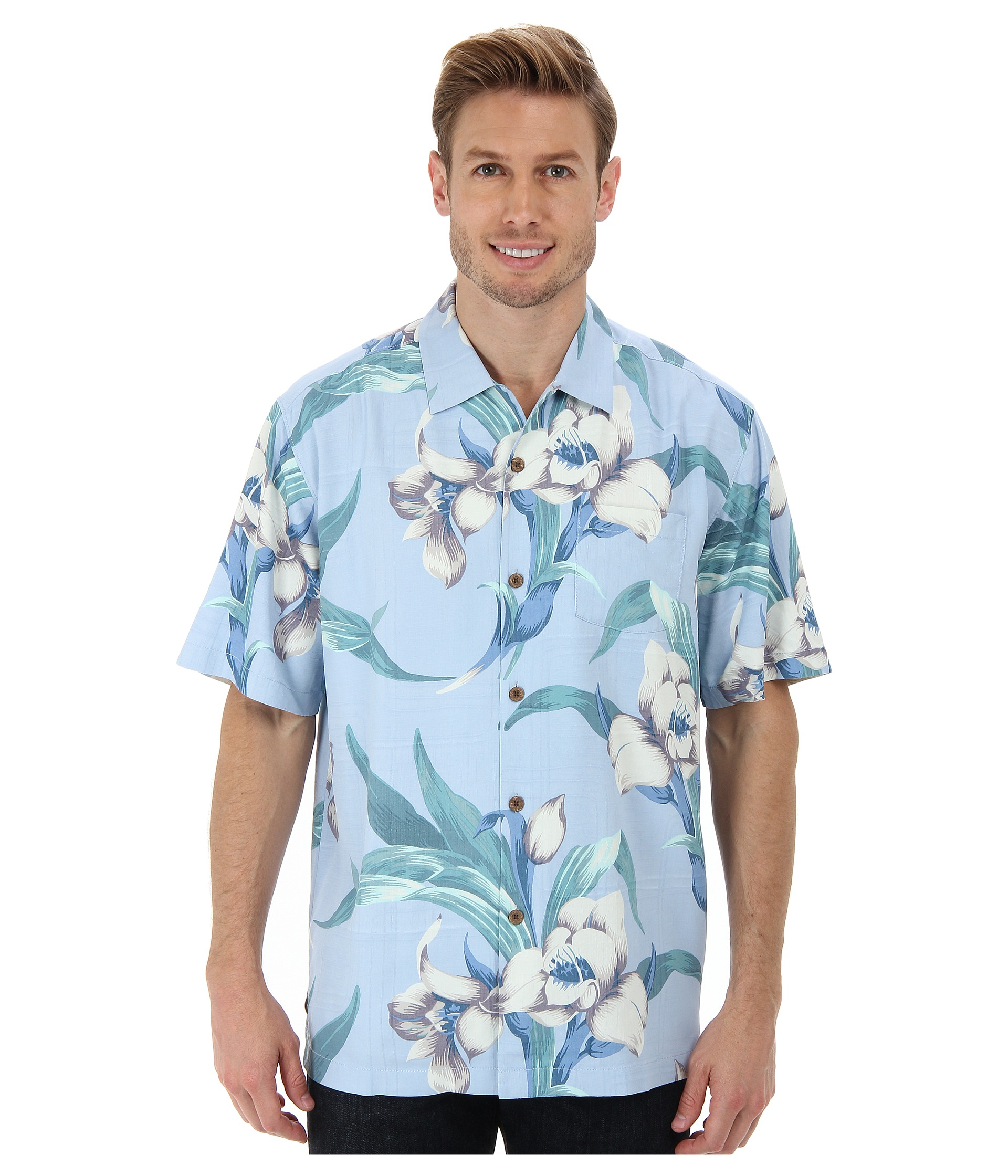 Lyst tommy bahama the grand floralscape ss camp shirt in for Tommy bahama christmas shirt 2014