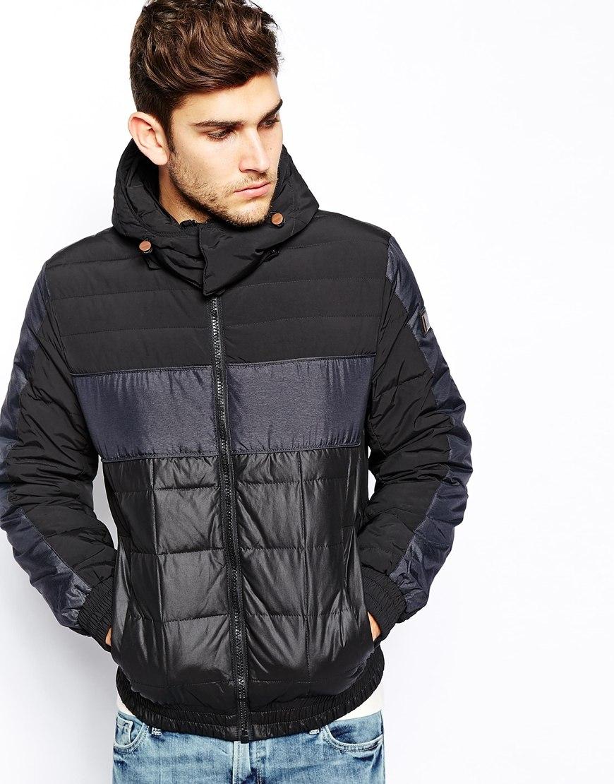 boss orange jacket with hood in black for men lyst. Black Bedroom Furniture Sets. Home Design Ideas