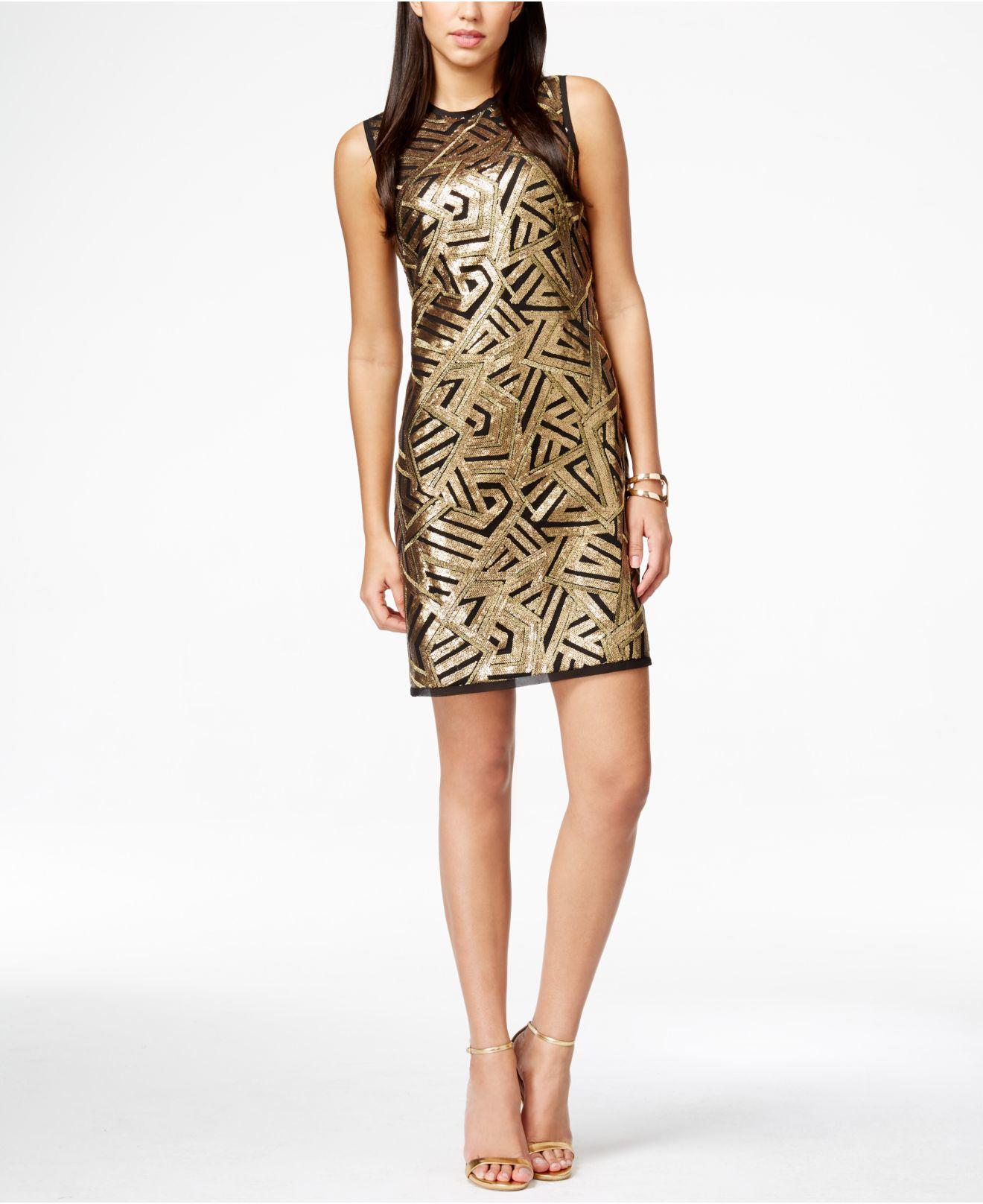 Online vince bodycon camuto sequin dress metallic brands highlands