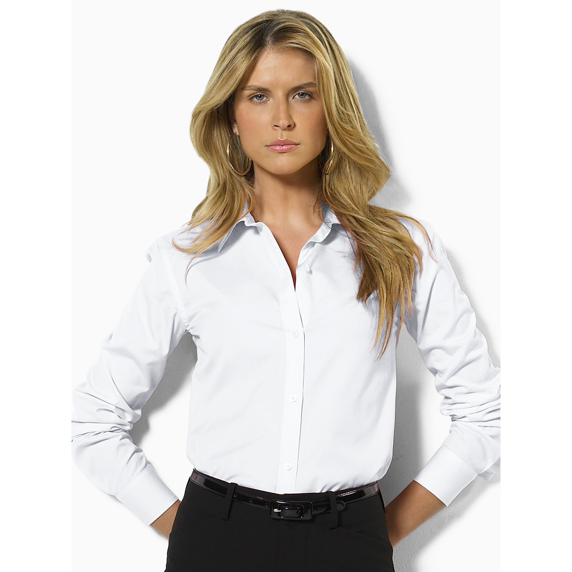 Pink pony cotton button down shirt in white lyst for No iron white shirt womens