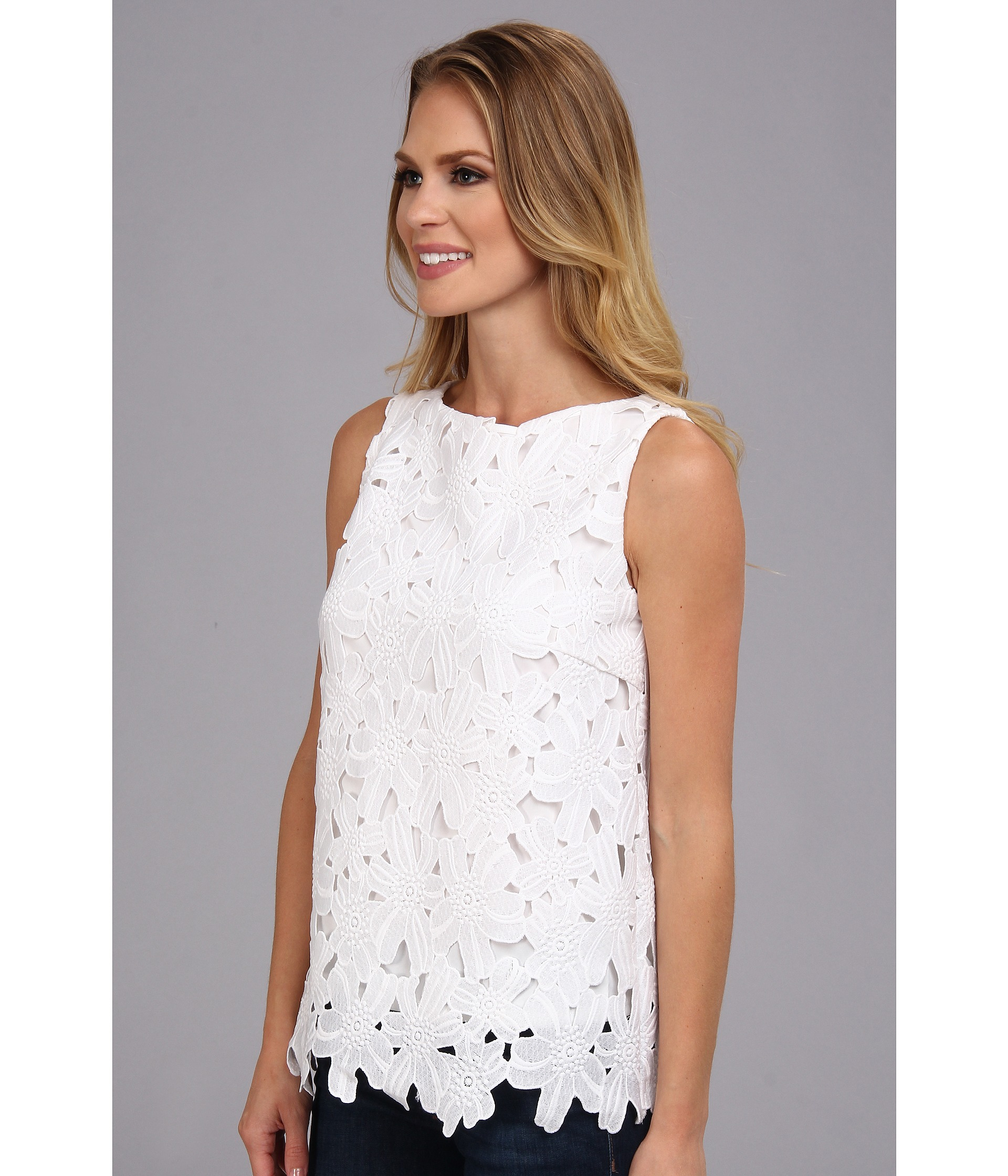 a61a90af0b97a9 Calvin Klein Shifli Embroidered Top in White - Lyst