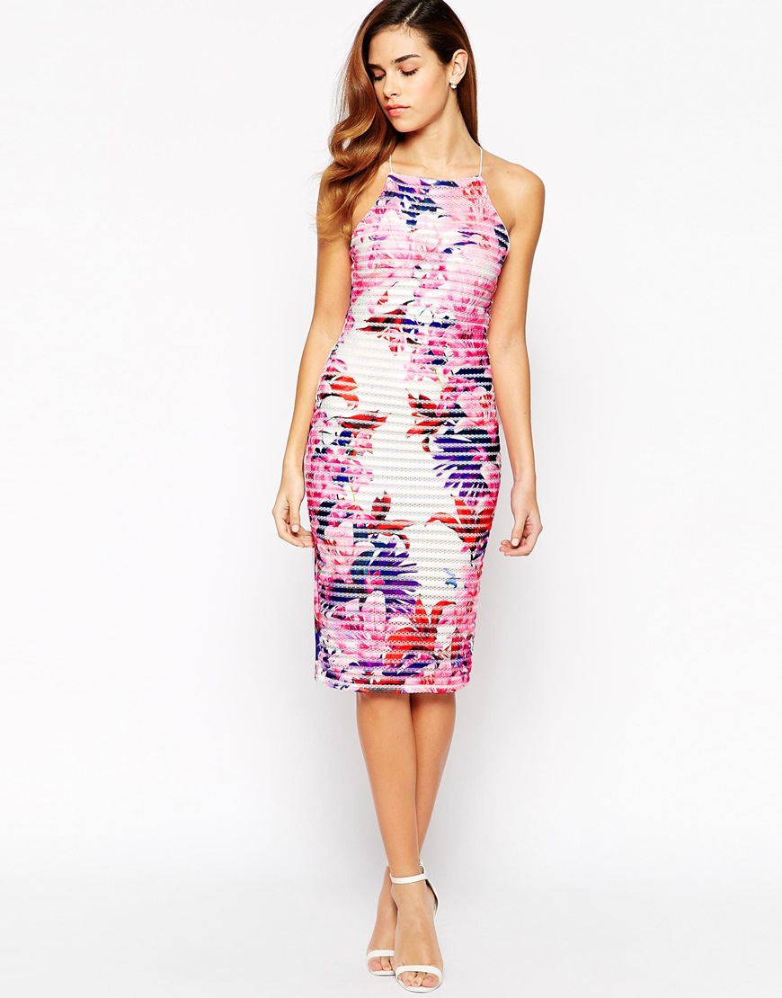 Lyst - Lipsy Michelle Keegan Loves High Neck Floral Ribbed -3240