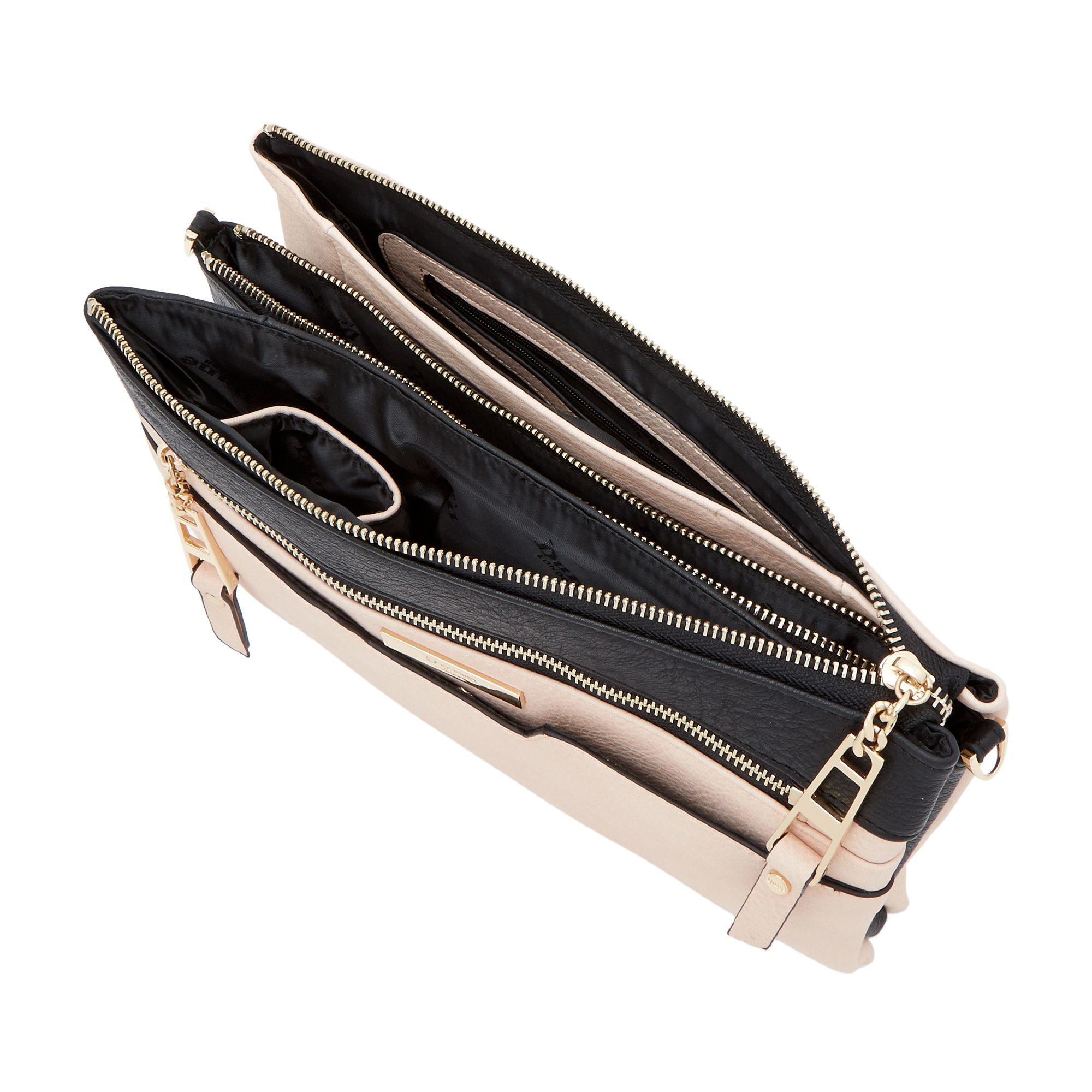 Dune Demily Multi Compartment Cross Body Bag in Black