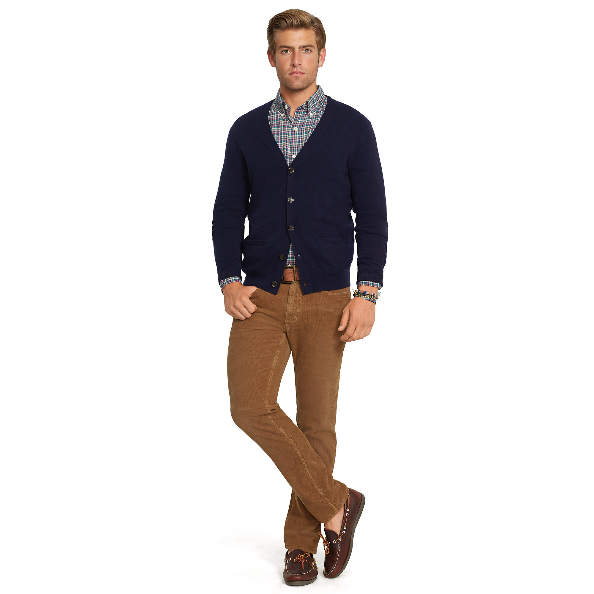 Ralph Lauren Cashmere V Neck Cardigan In Blue For Men Lyst