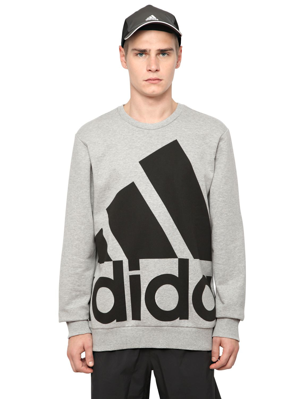 lyst adidas logo printed cotton blend sweatshirt in gray. Black Bedroom Furniture Sets. Home Design Ideas