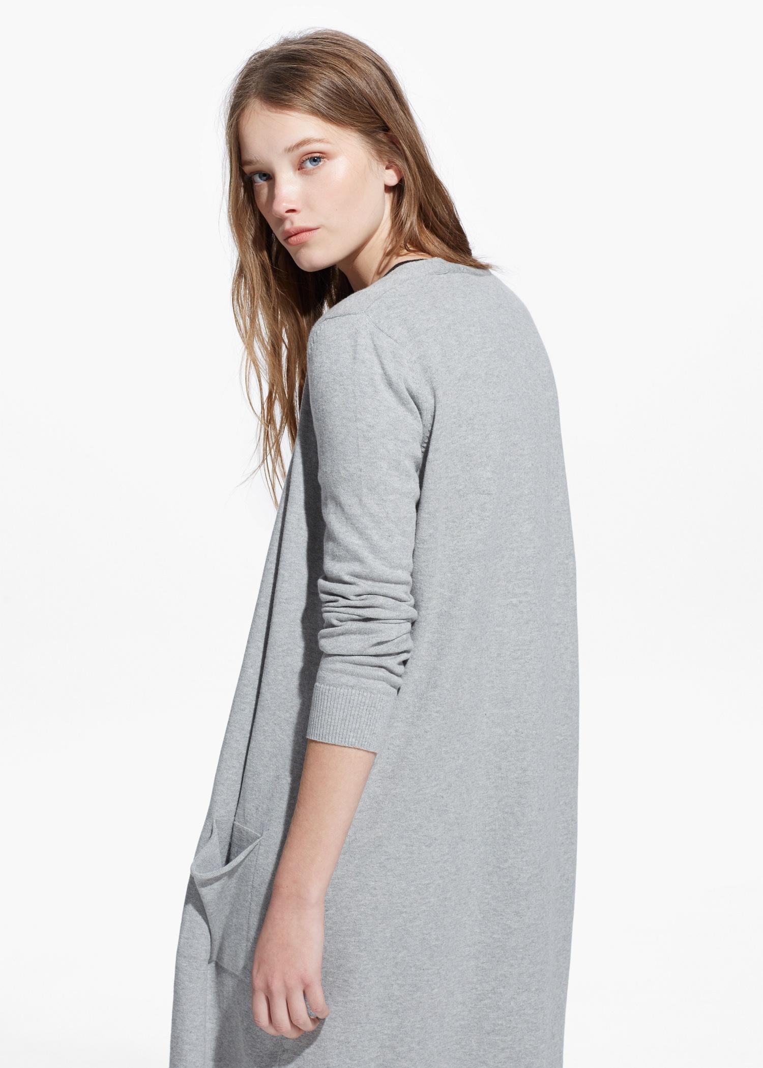 Mango Long Cotton Cardigan in Gray | Lyst