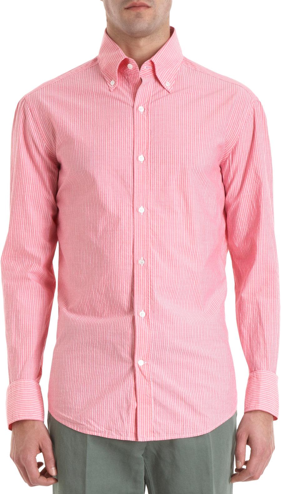 Michael bastian striped button down collar shirt in pink for Striped button down shirts for men