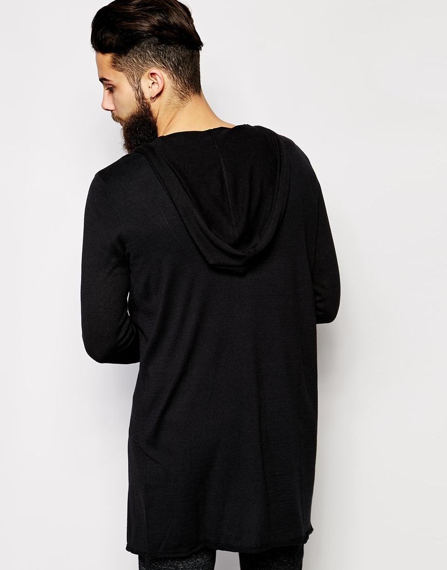 Asos Super Longline Hooded Cardigan in Black for Men | Lyst