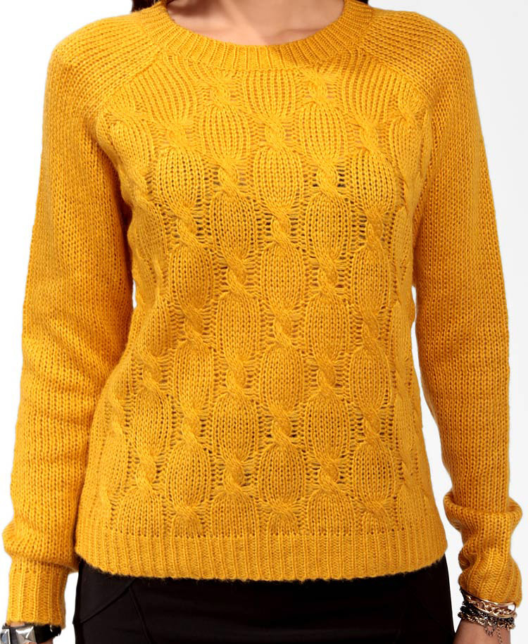 Forever 21 Cable Knit Raglan Sweater in Yellow | Lyst