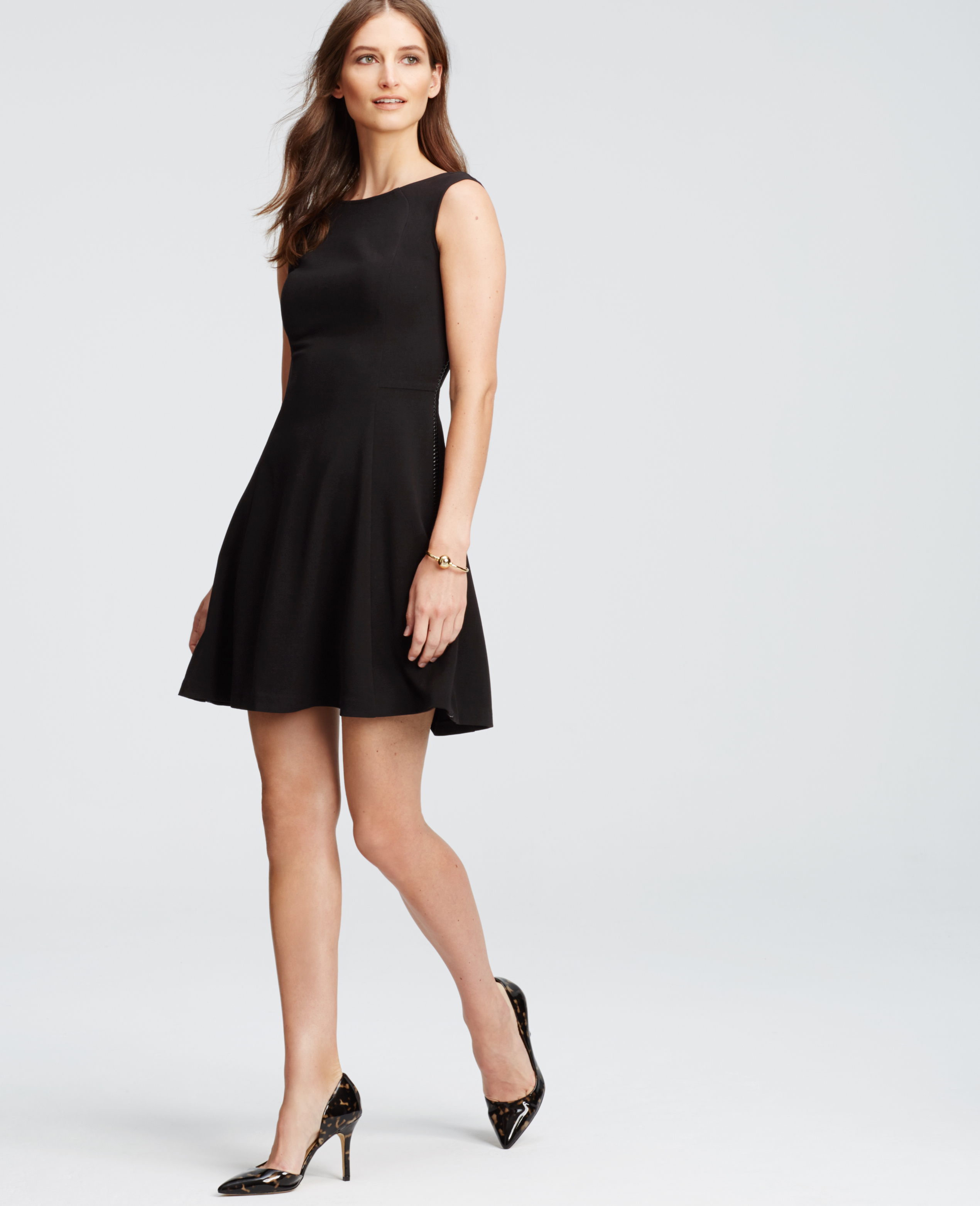Lyst - Ann Taylor Petite Braid Seamed Flare Dress in Black