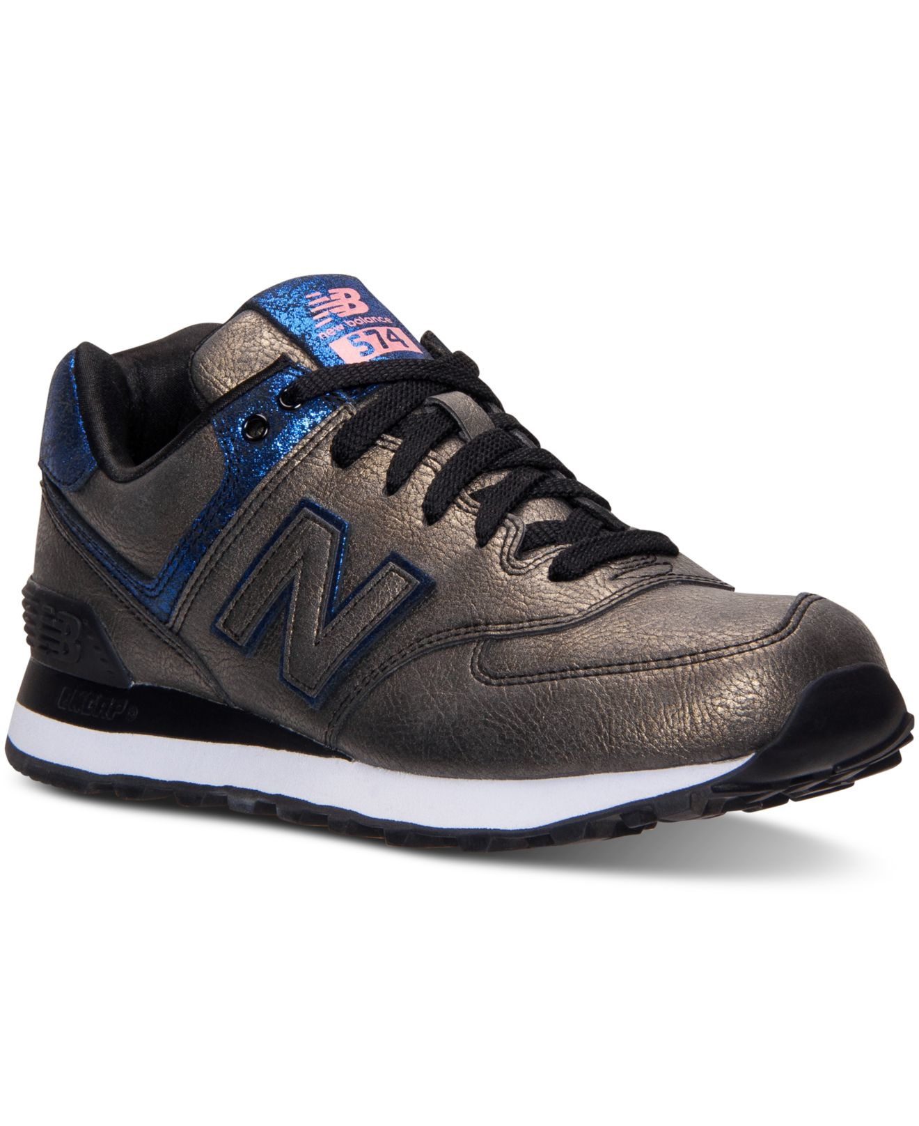 lyst new balance women 39 s 574 mineral glow casual sneakers from finish line in black. Black Bedroom Furniture Sets. Home Design Ideas