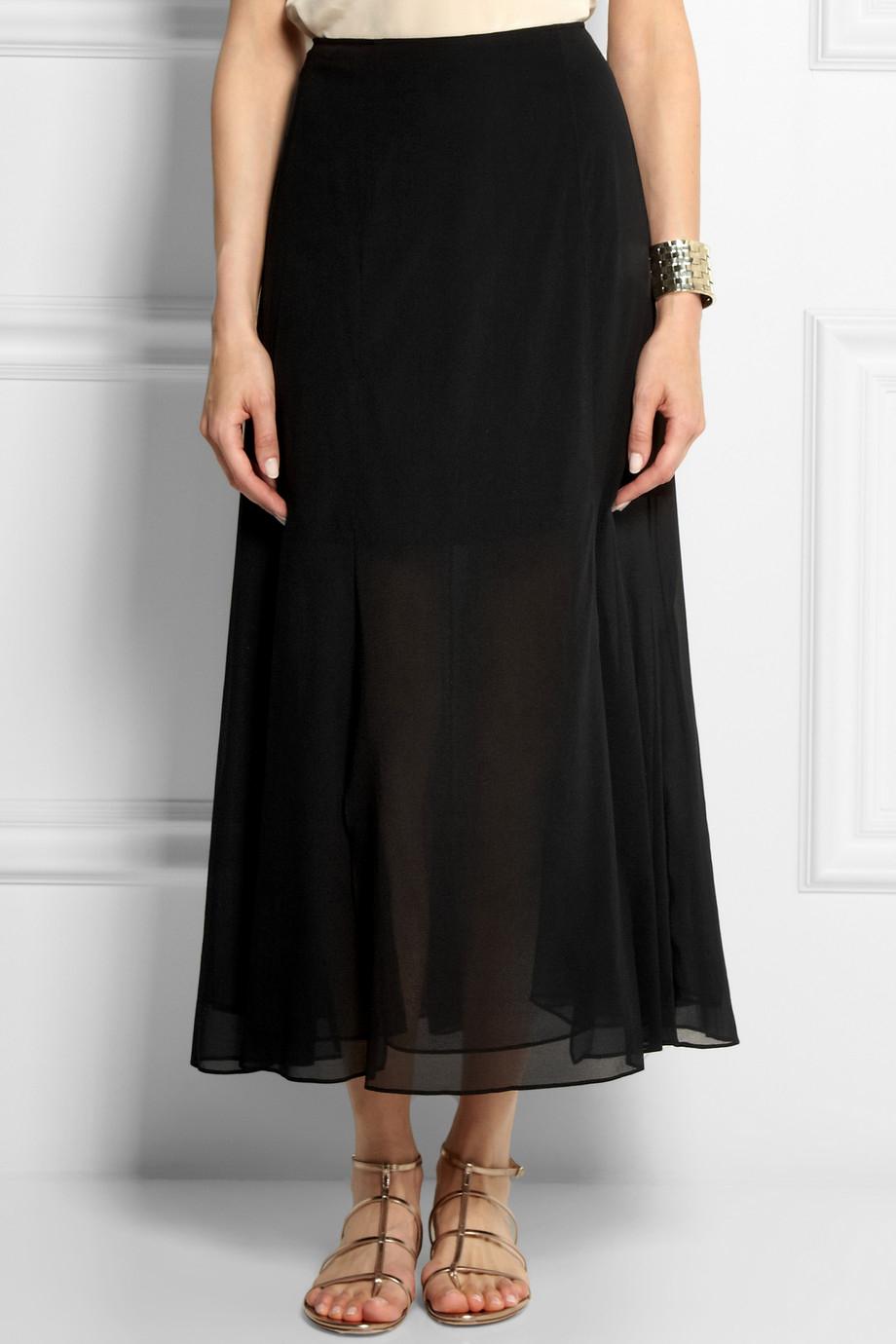 theory swind stretch silk chiffon midi skirt in black lyst
