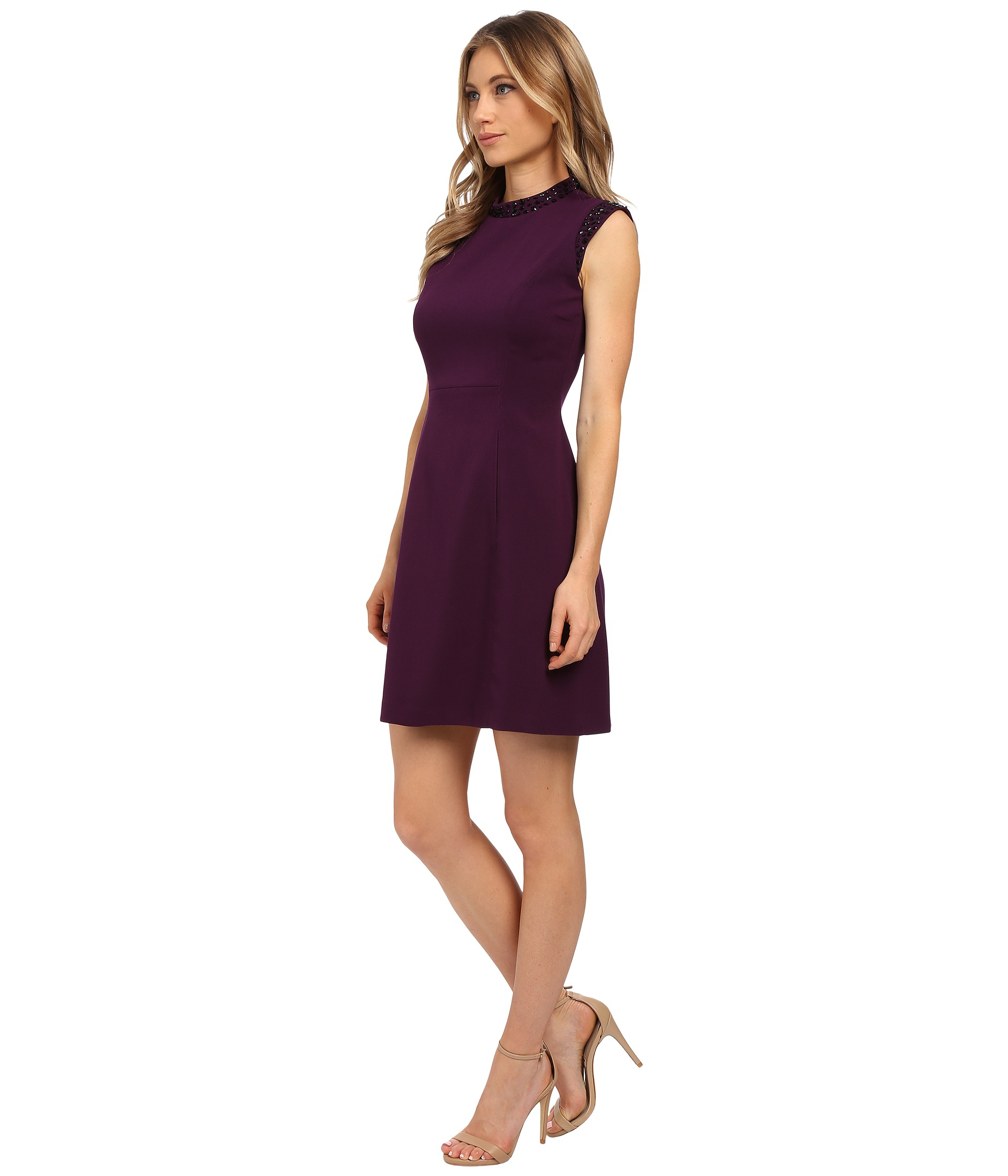 3b7a25a9bb36 Vince Camuto Cap Sleeve Solid Fit & Flare Dress With Black Jet Bead ...