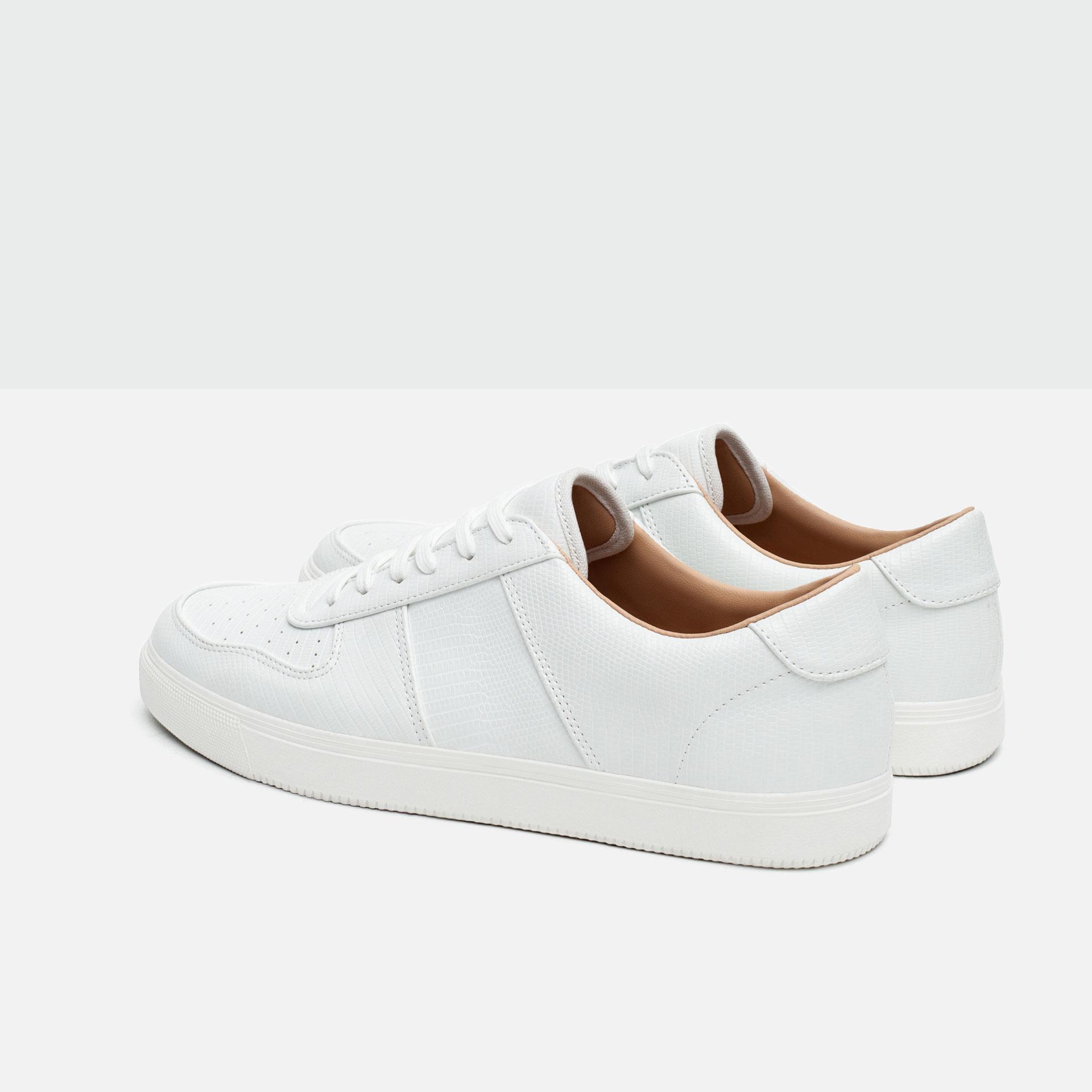 Zara Brogue Detail Sneakers In White For Men Lyst