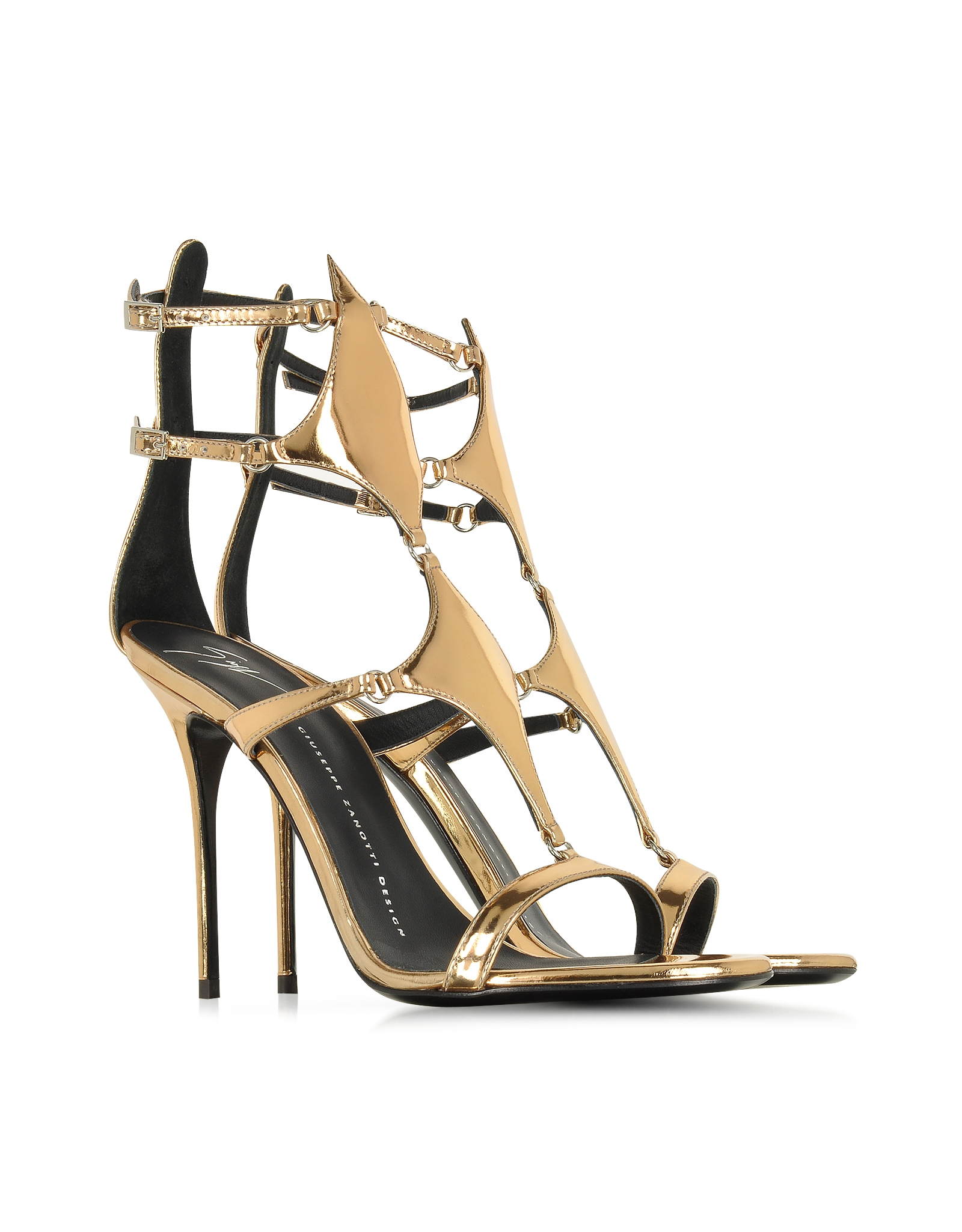 17e7bc866 Giuseppe Zanotti Darlene Bronze Metallic Patent Leather Sandal in ...
