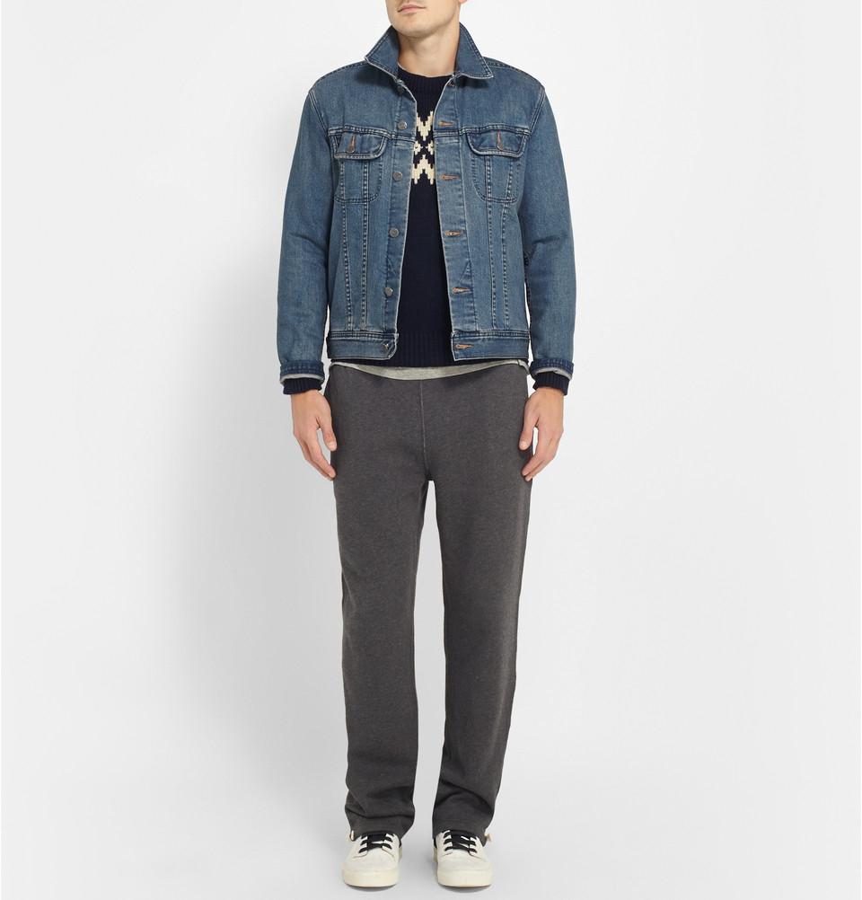 lyst polo ralph lauren m lange knit cotton blend sweatpants in gray for men. Black Bedroom Furniture Sets. Home Design Ideas