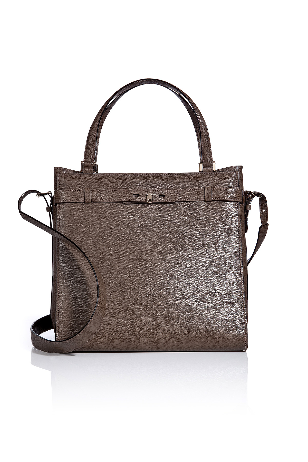 Valextra Leather Large B-Cube Handbag in Gray