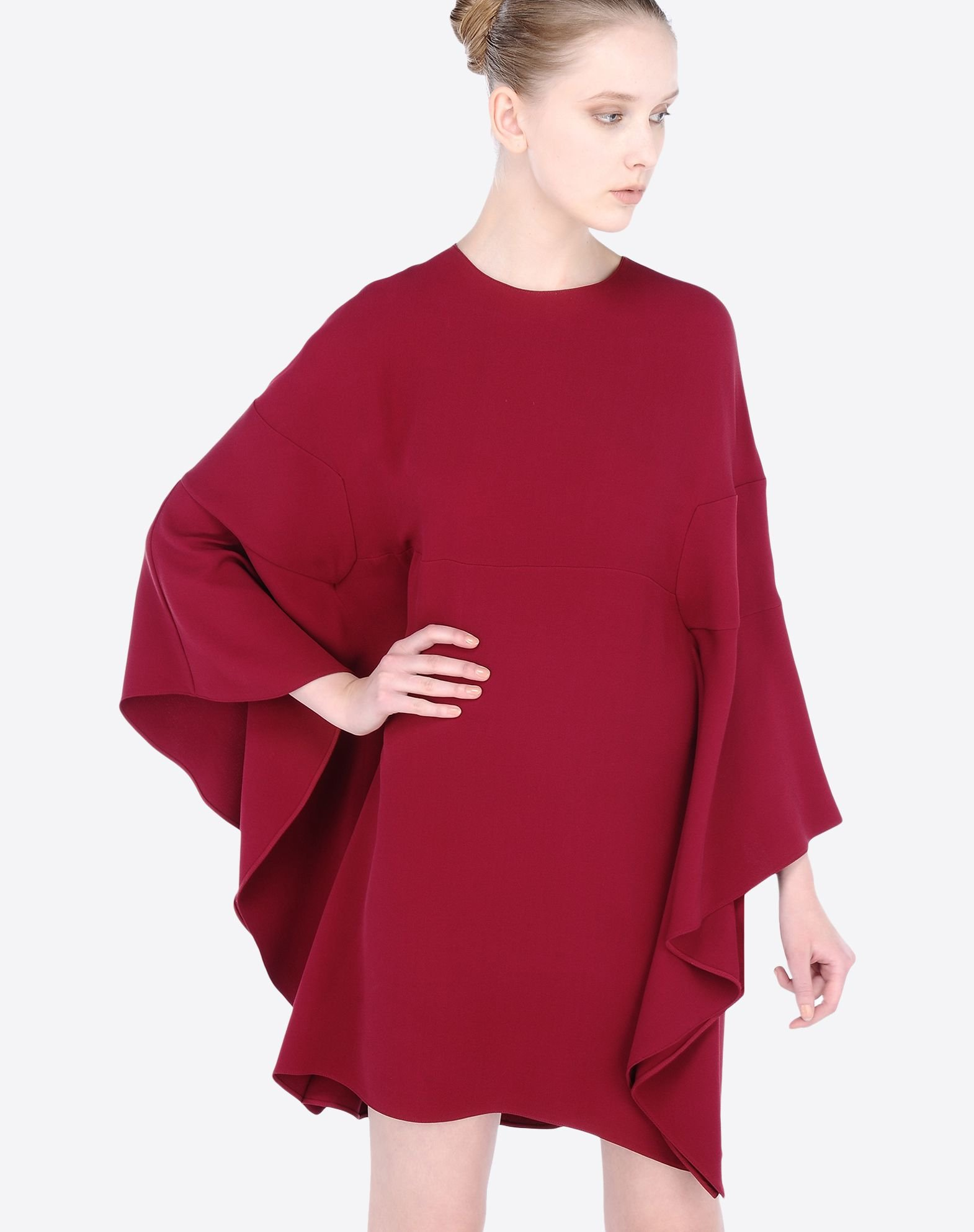 Valentino Poncho Dress With Ruffles At The Sides In Purple