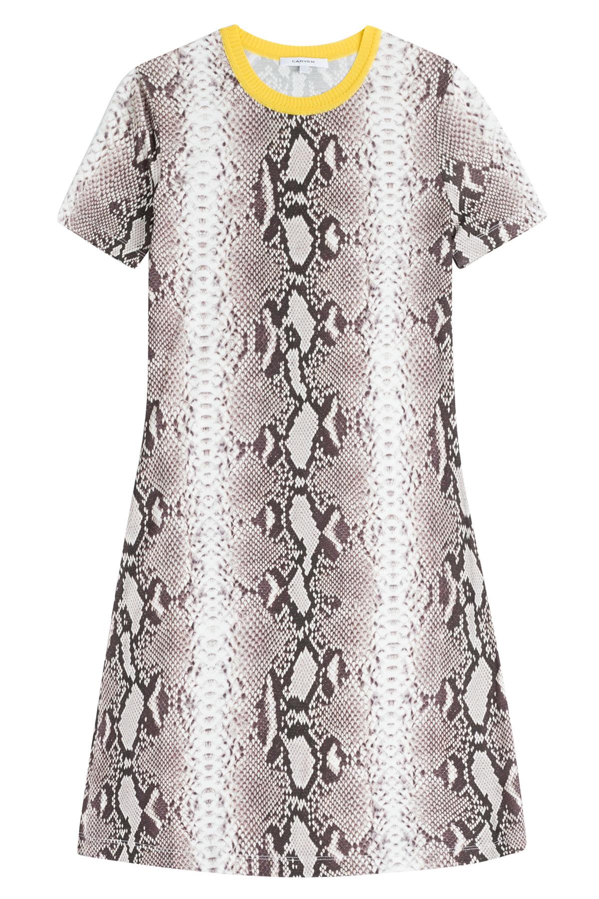 Carven Snake Skin Print Paneled Dress In Black Lyst
