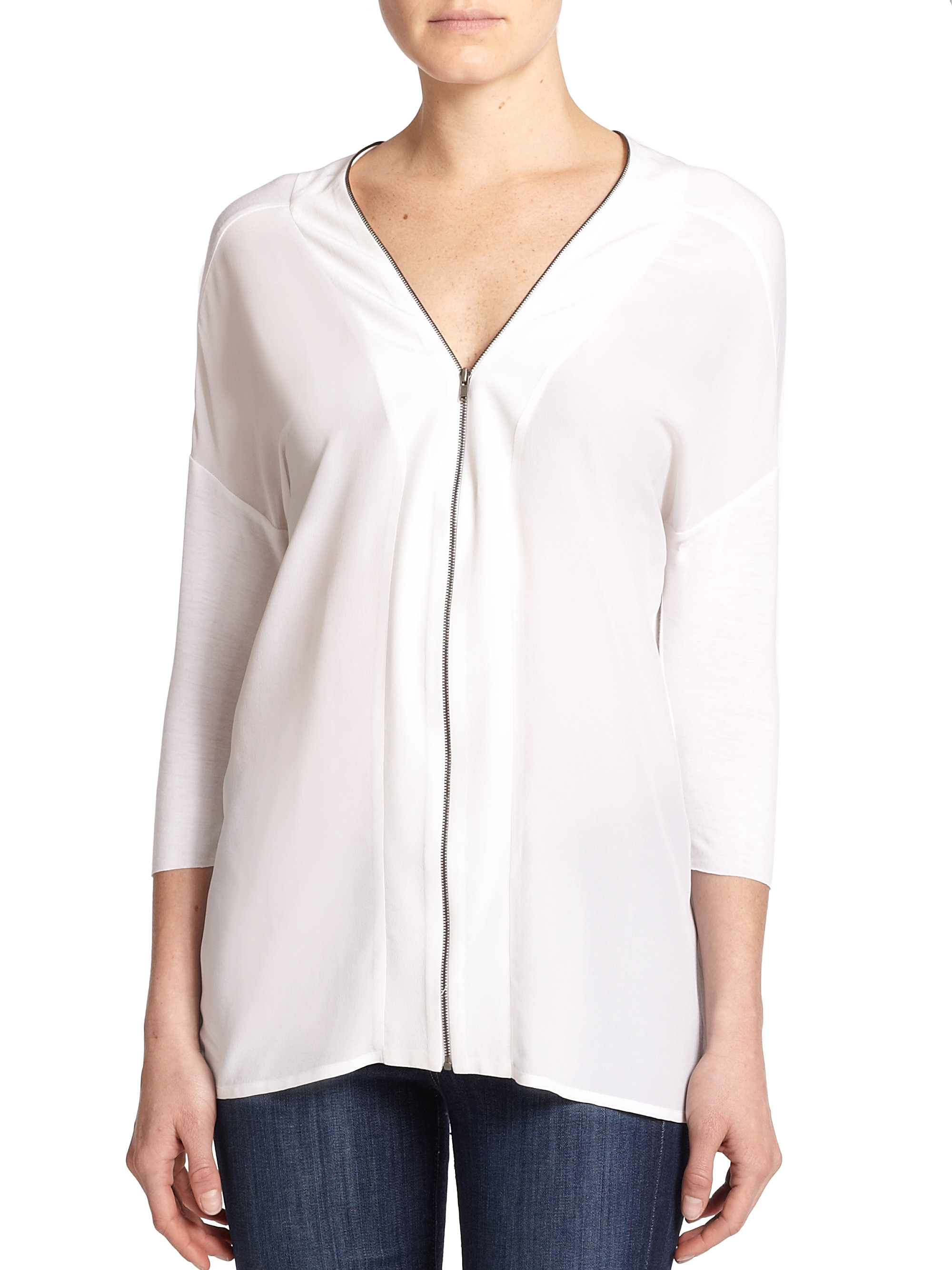Zip Front Blouse White 73