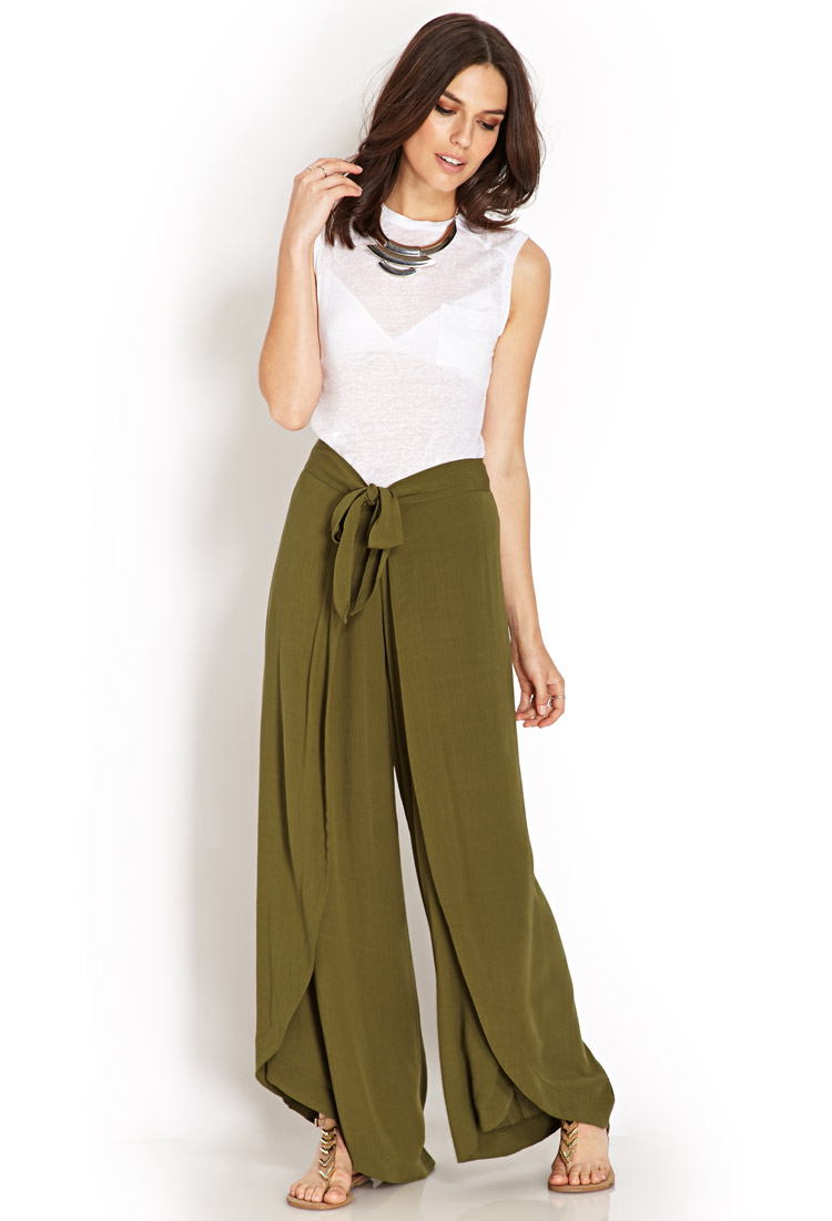 Lyst Forever 21 Draped Tulip Pants In Green